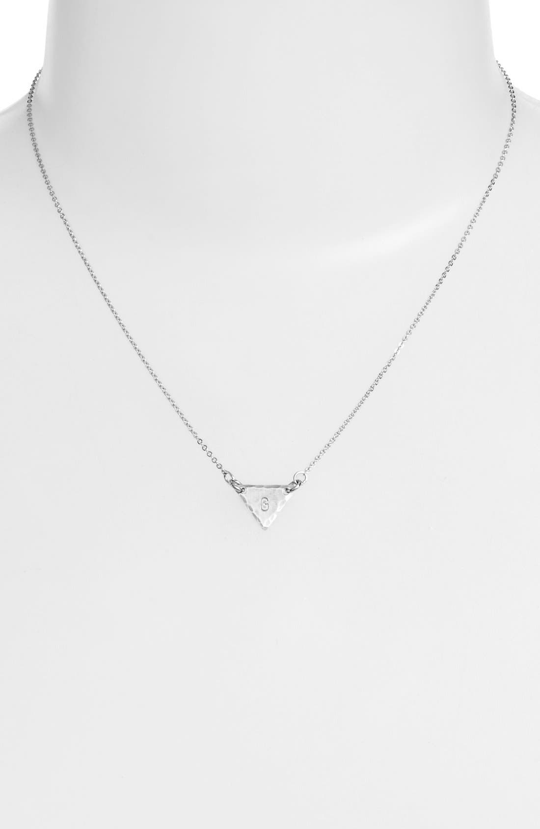 Sterling Silver Initial Mini Triangle Necklace,                             Alternate thumbnail 33, color,
