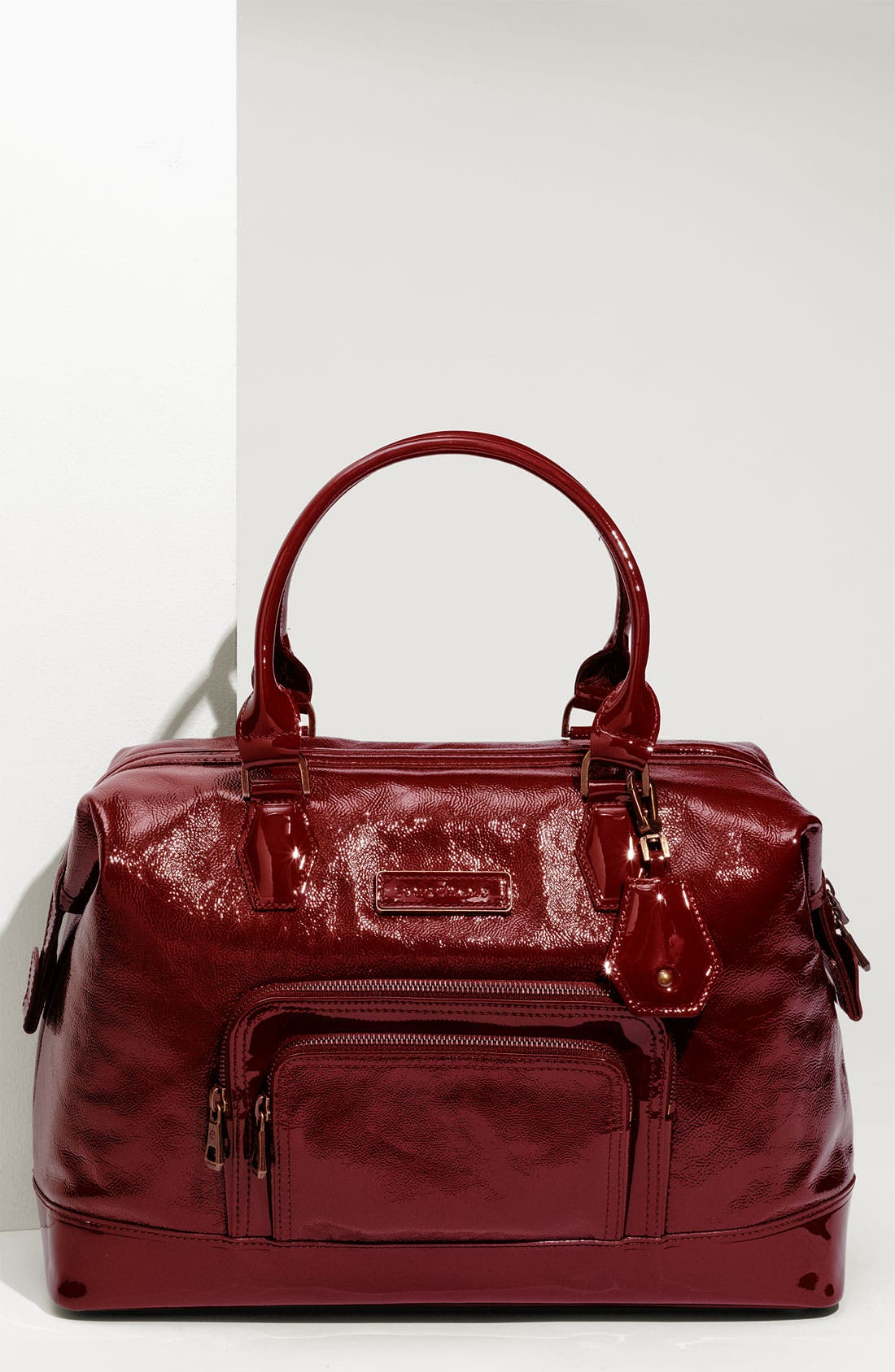 LONGCHAMP 'Legende Verni' Patent Calfskin Satchel, Main, color, 601