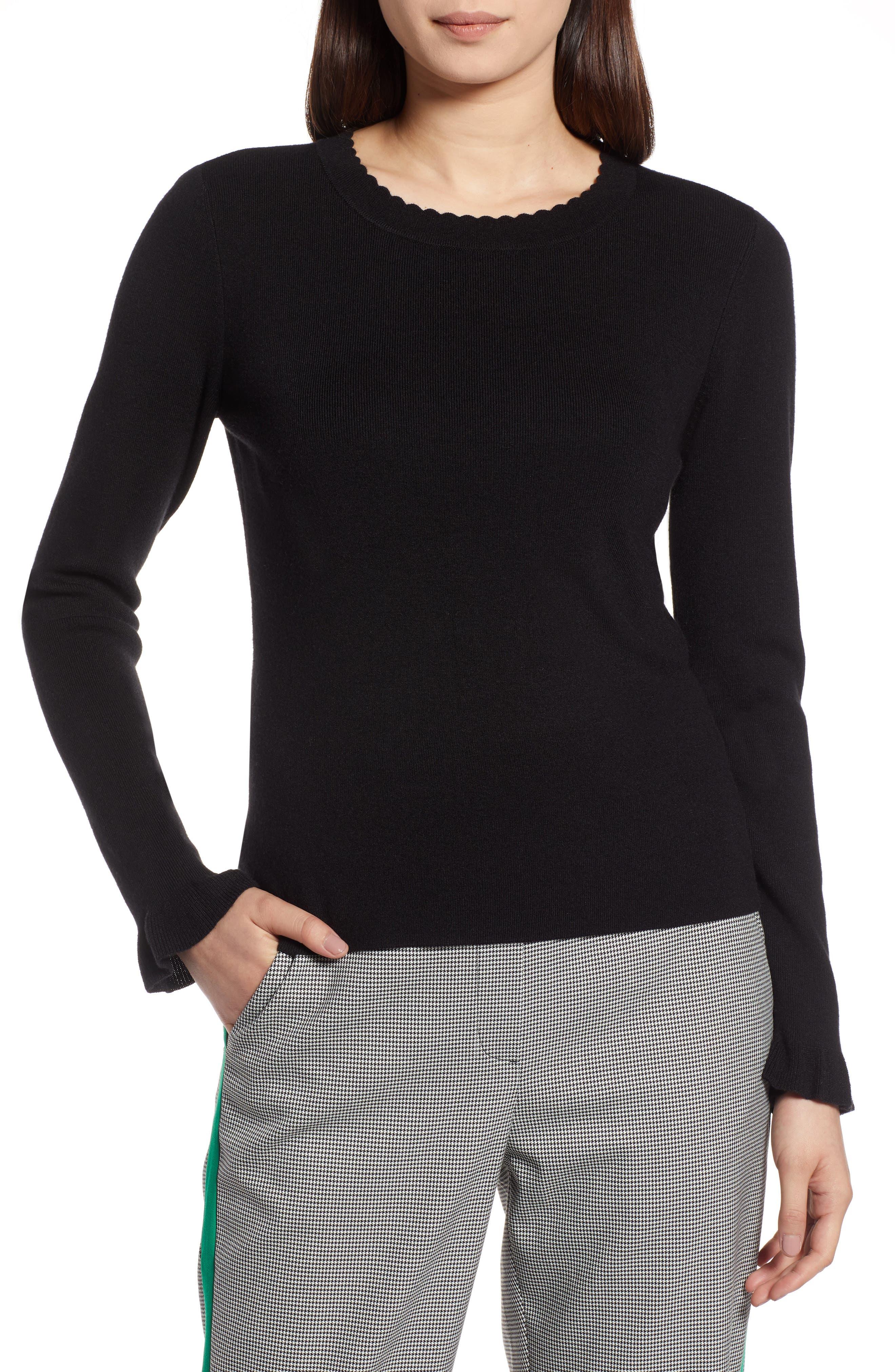 Scallop Trim Sweater,                             Main thumbnail 1, color,                             001