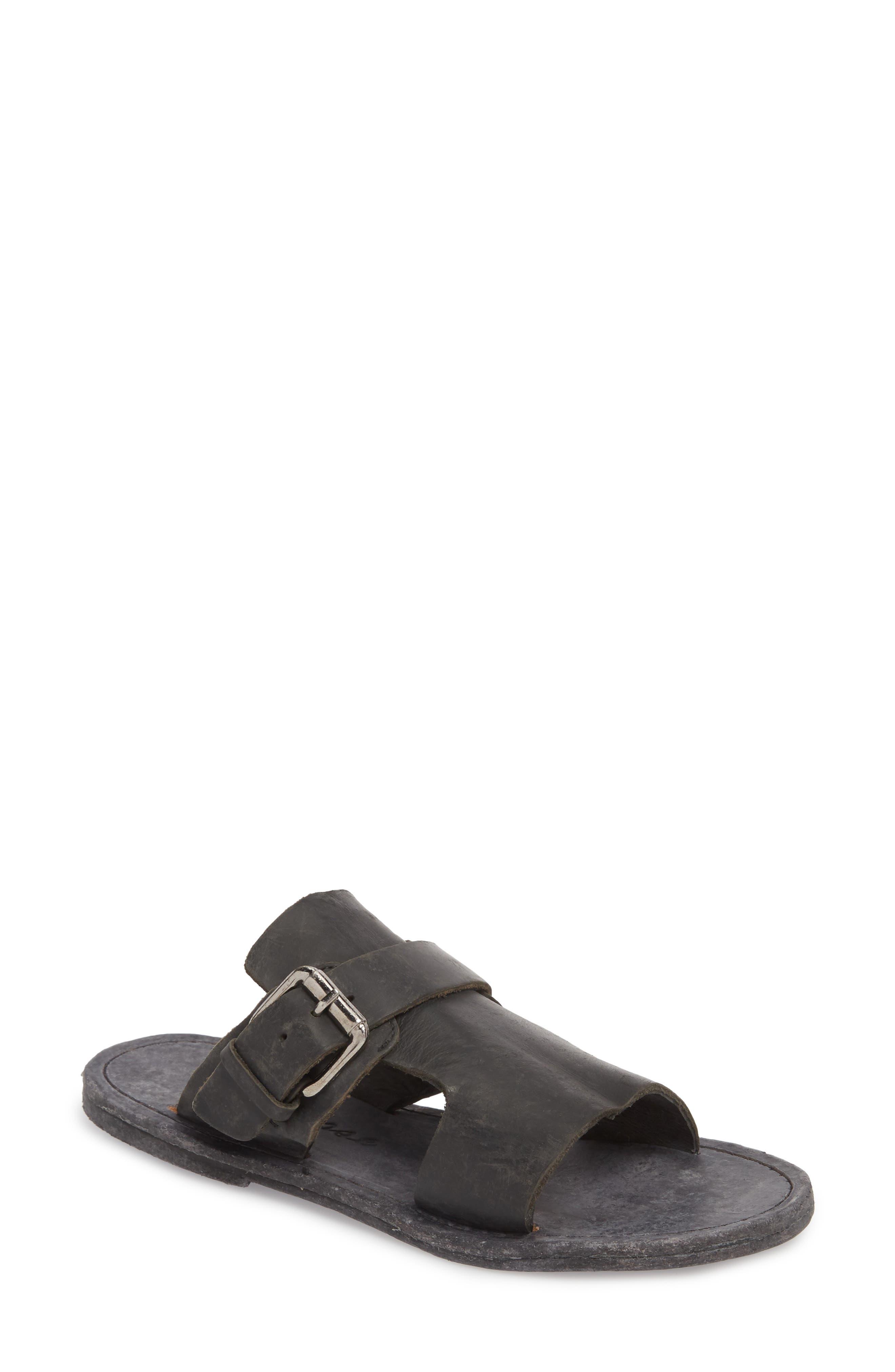 Abbie Slide Sandal,                         Main,                         color, BLACK LEATHER
