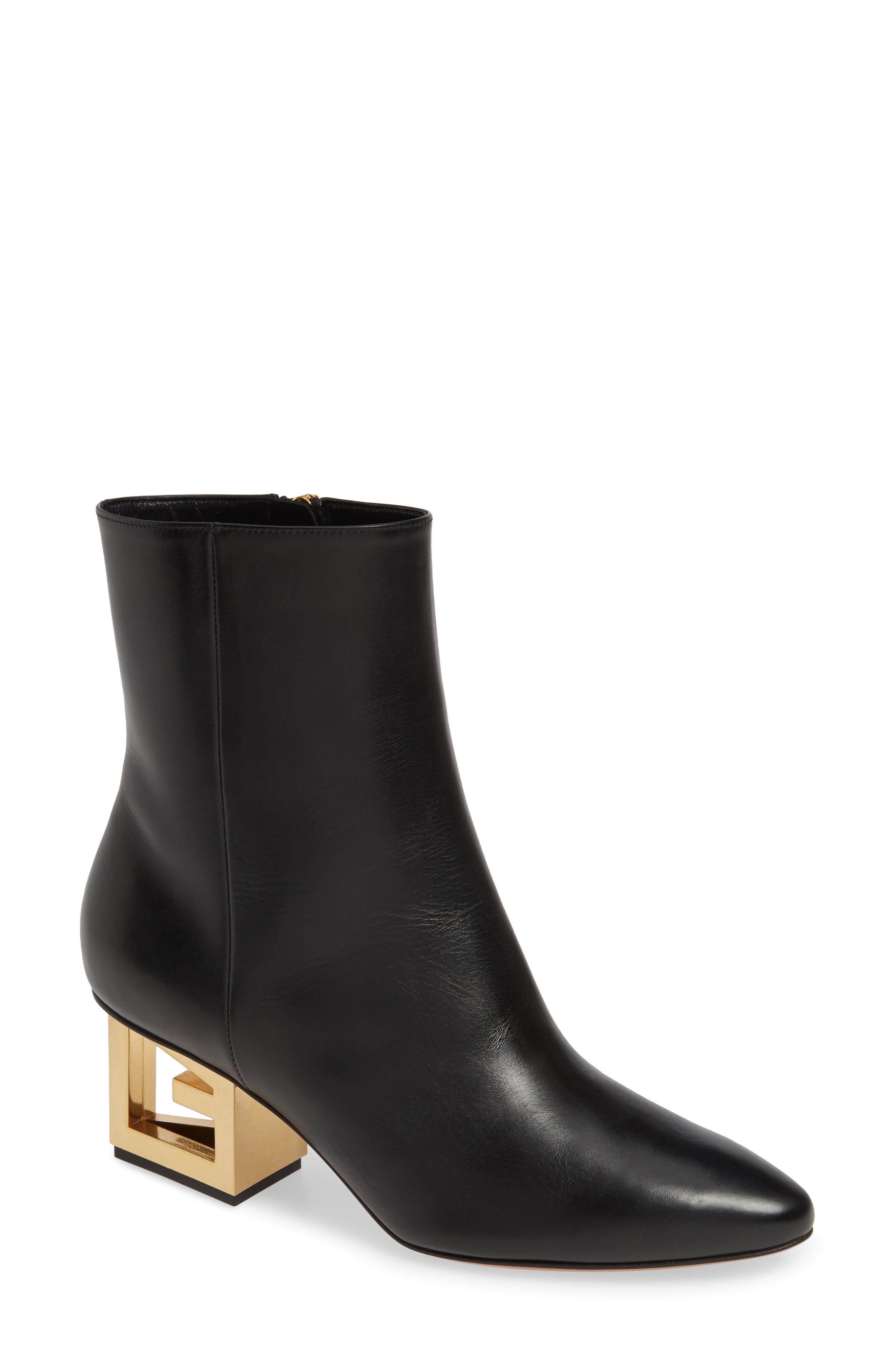 GIVENCHY Triangle Heel Ankle Boot, Main, color, BLACK