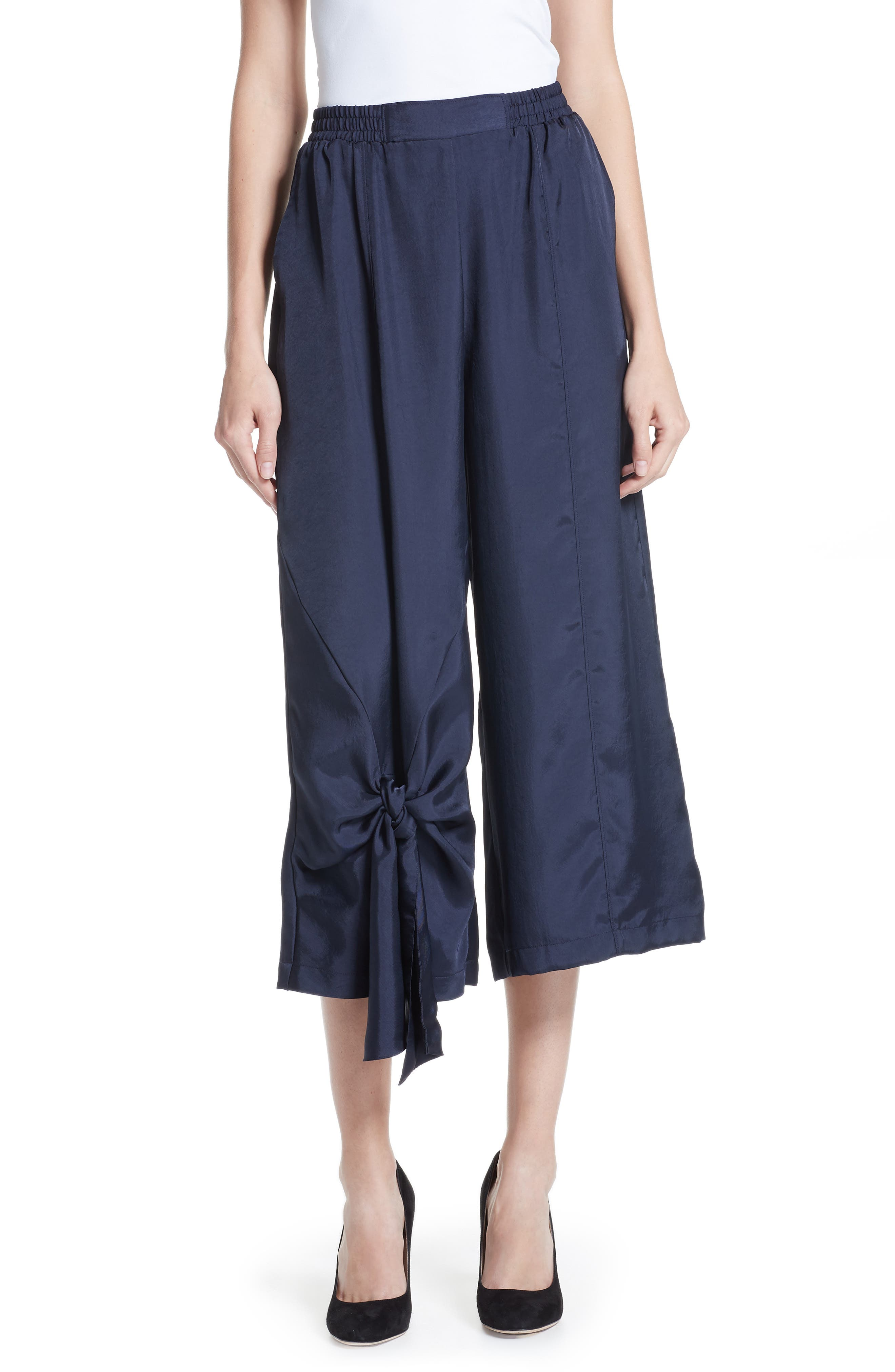 Tie Detail Crop Pants,                         Main,                         color, NAVY