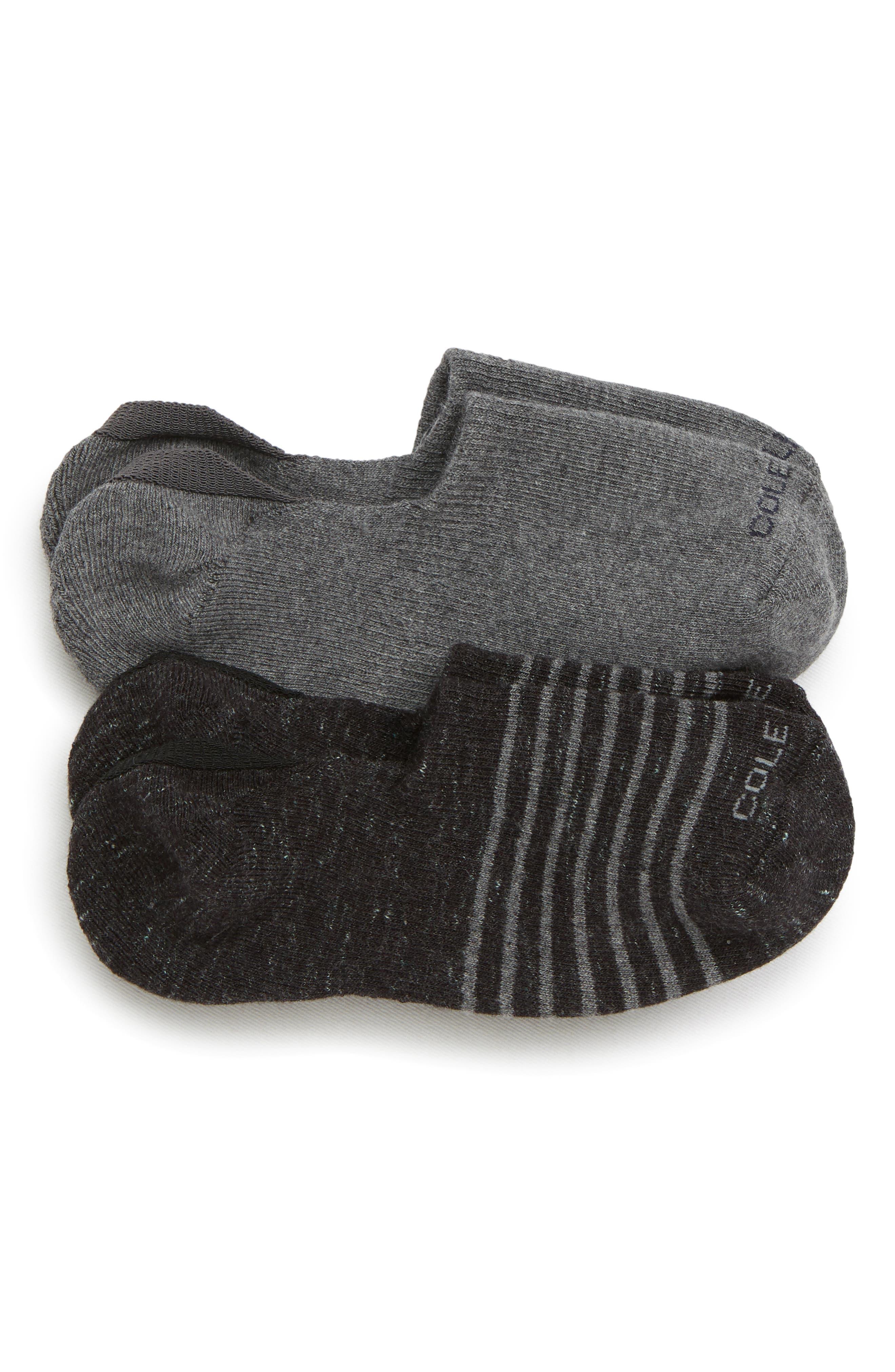 2-Pack No-Show Socks,                             Main thumbnail 1, color,                             BLACK