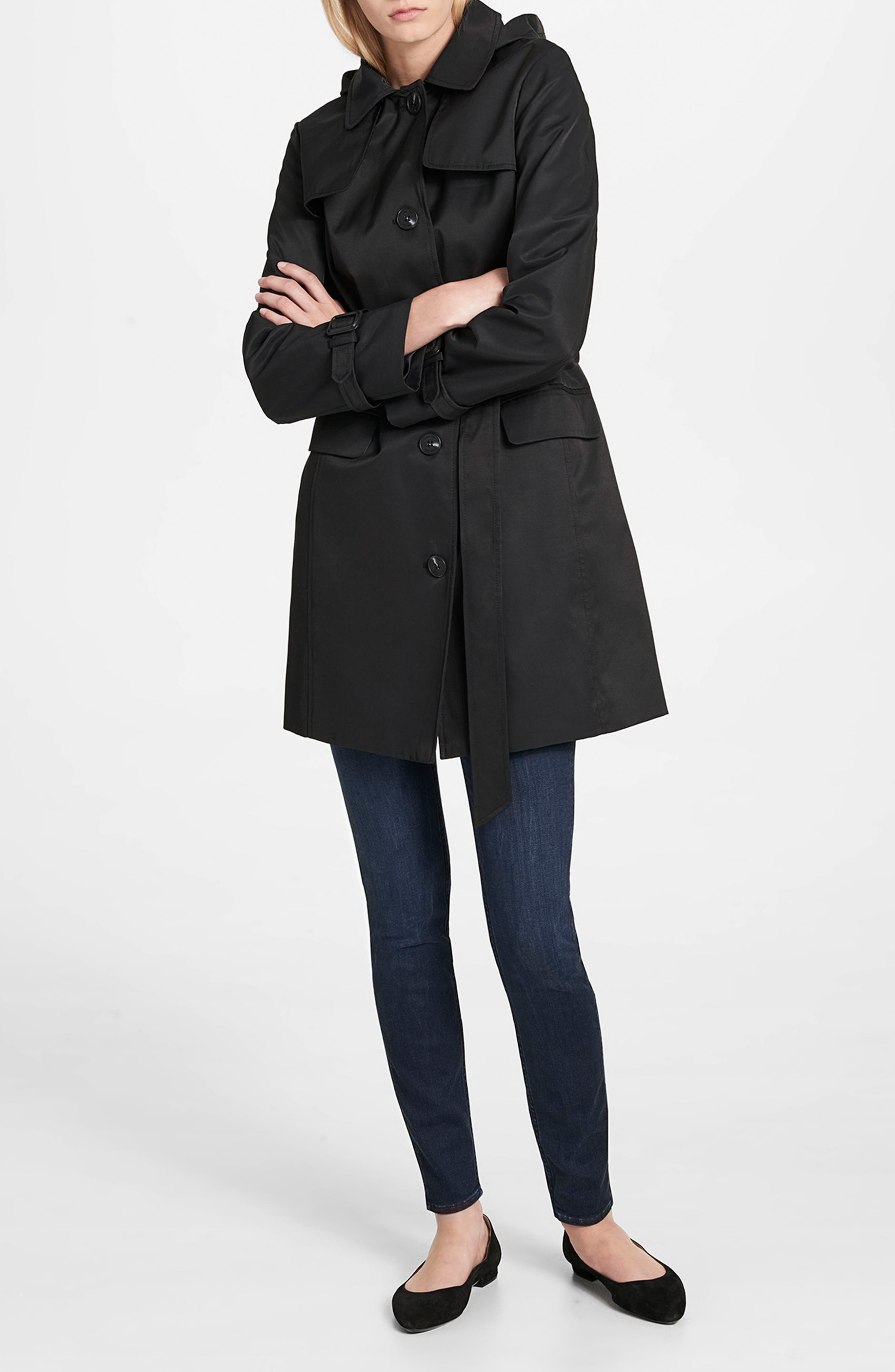Water Resistant Belted Trench Coat,                             Alternate thumbnail 3, color,                             001