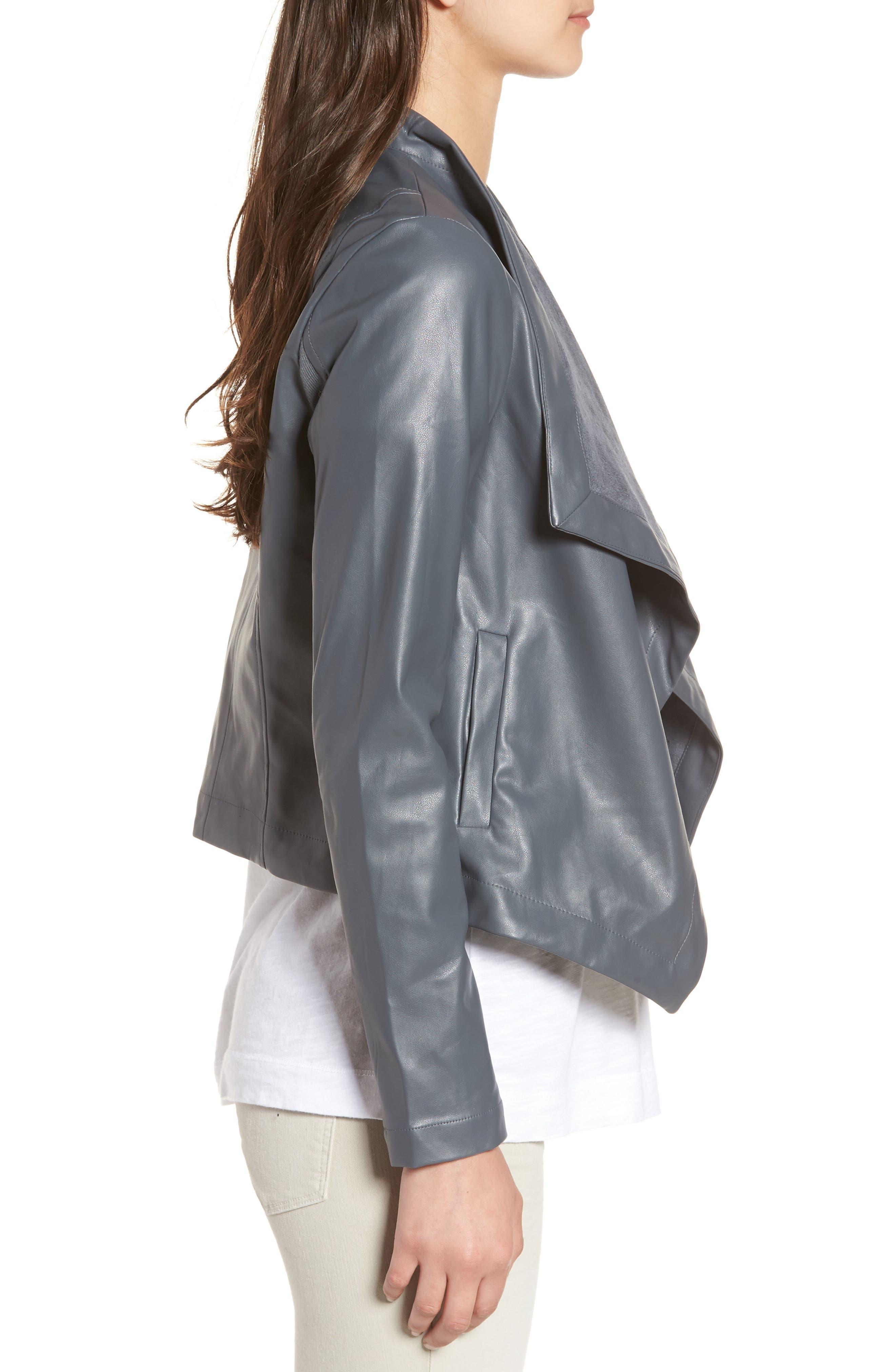 'Peppin' Drape Front Faux Leather Jacket,                             Alternate thumbnail 22, color,