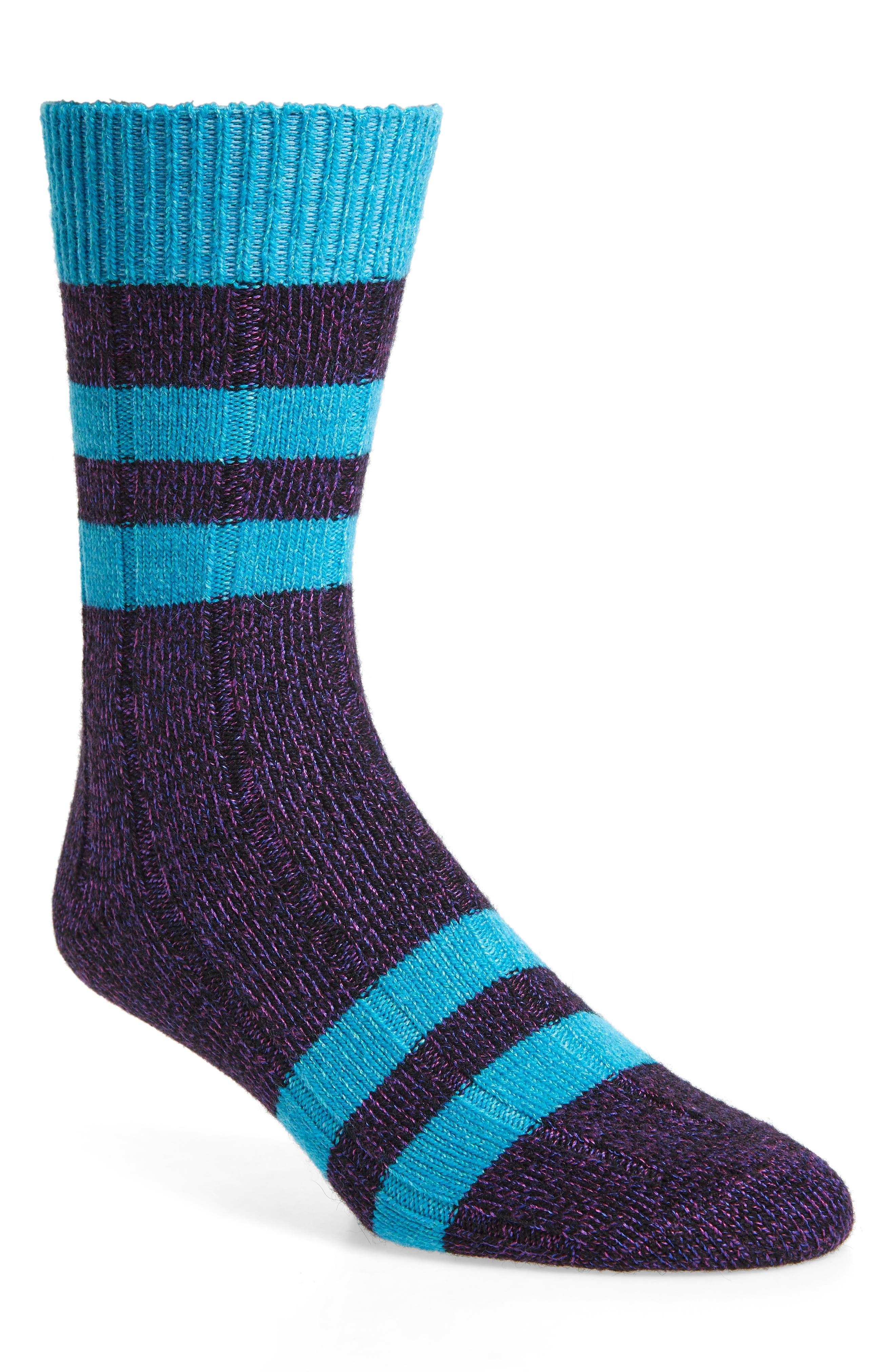HAPPY SOCKS Thick Stripe Socks in Purple/ Blue