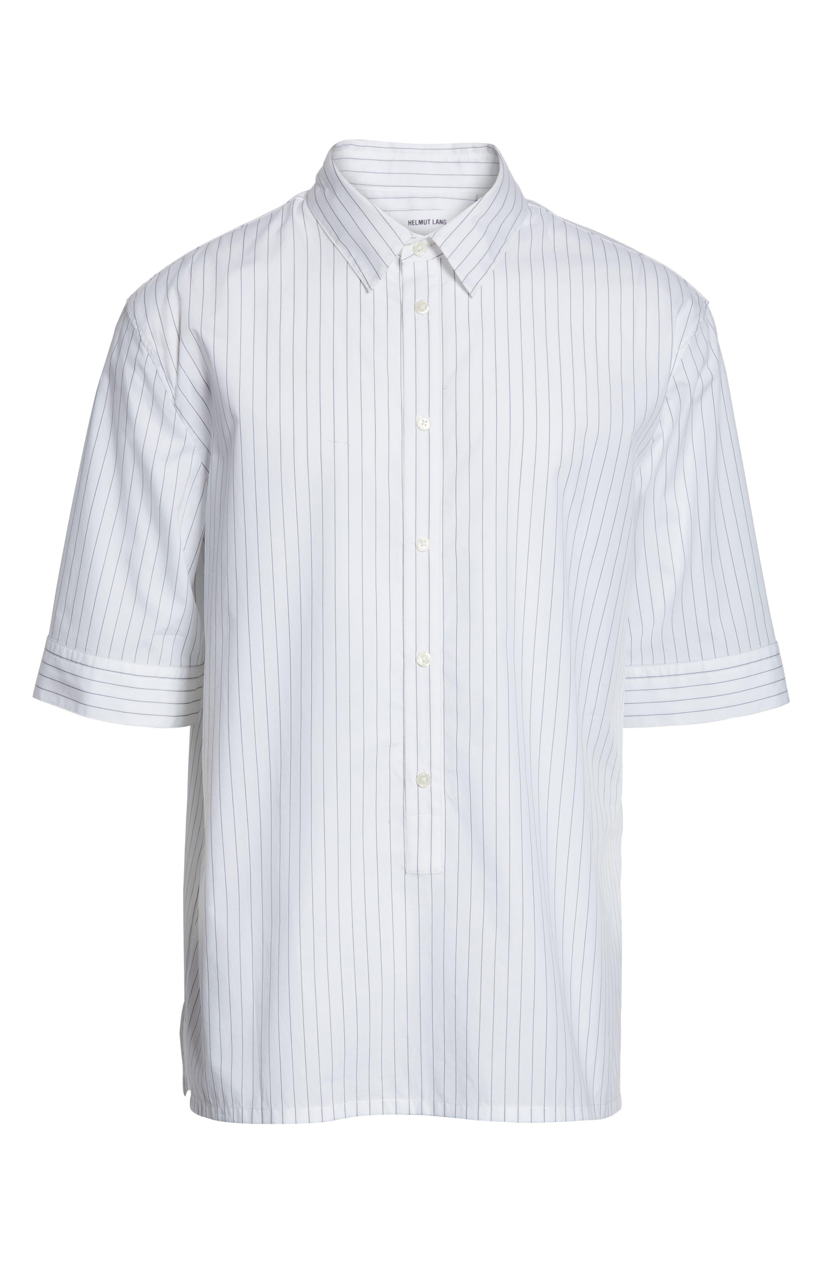 Elongated Placket Stripe Woven Shirt,                             Alternate thumbnail 6, color,