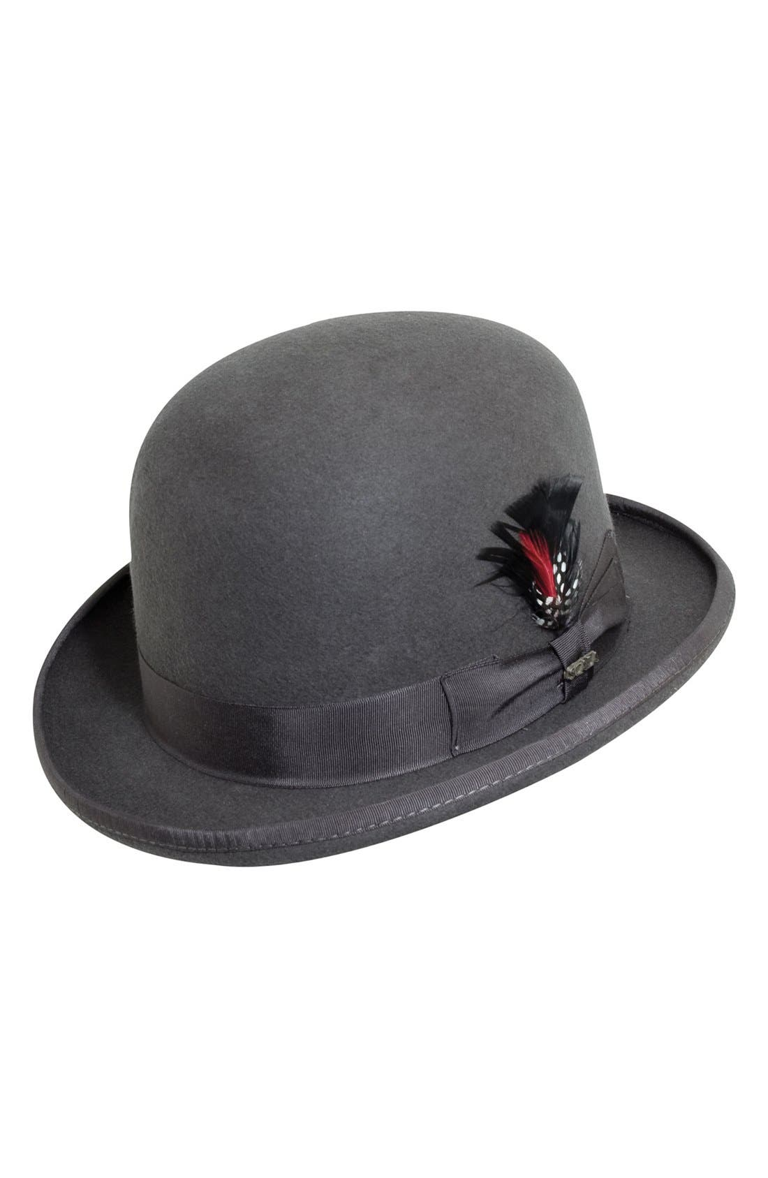 'Classico' Wool Felt Derby Hat,                             Main thumbnail 1, color,                             CHARCOAL