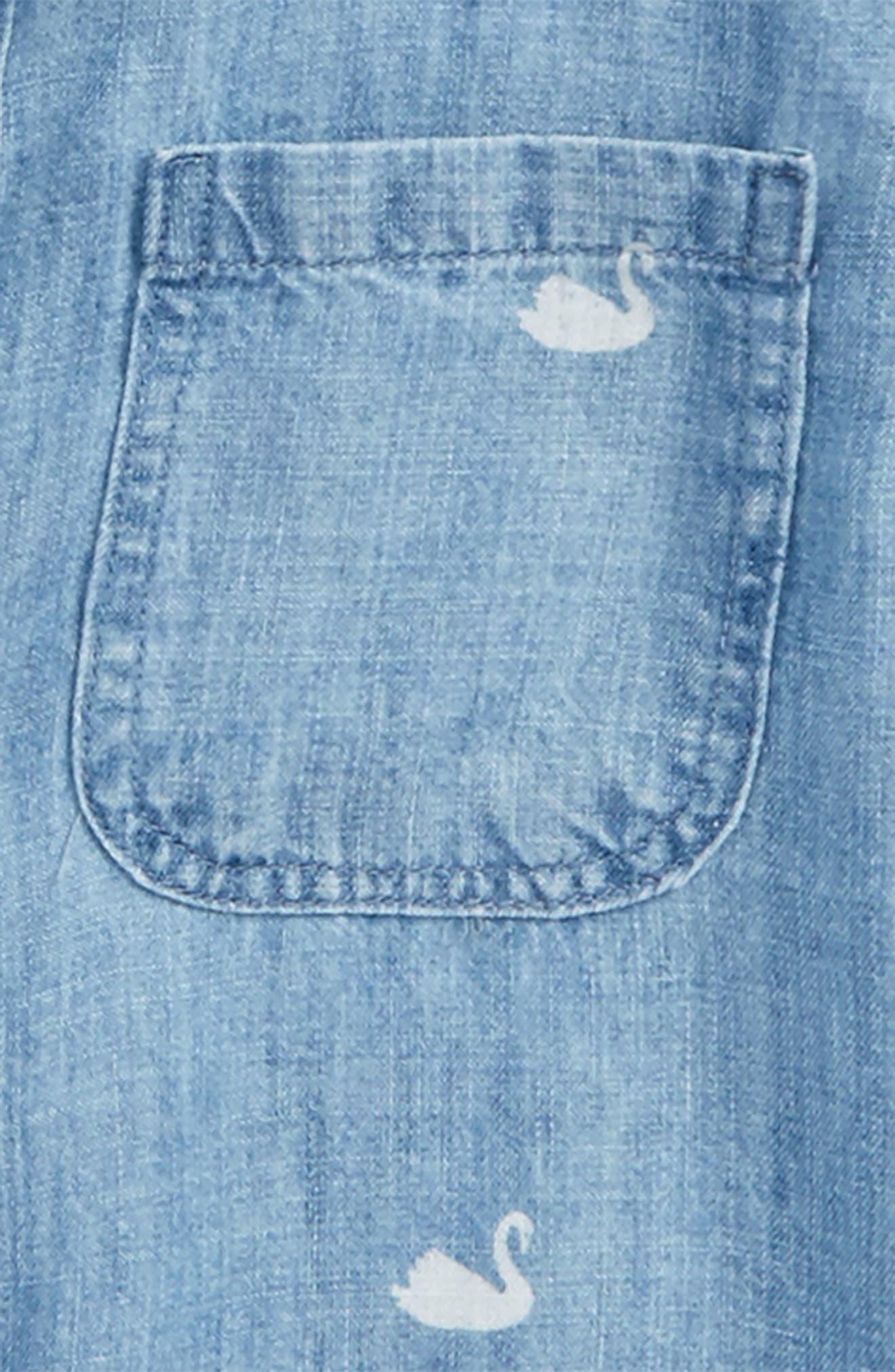 Carter Swan Print Chambray Button Front Shirt,                             Alternate thumbnail 2, color,                             434