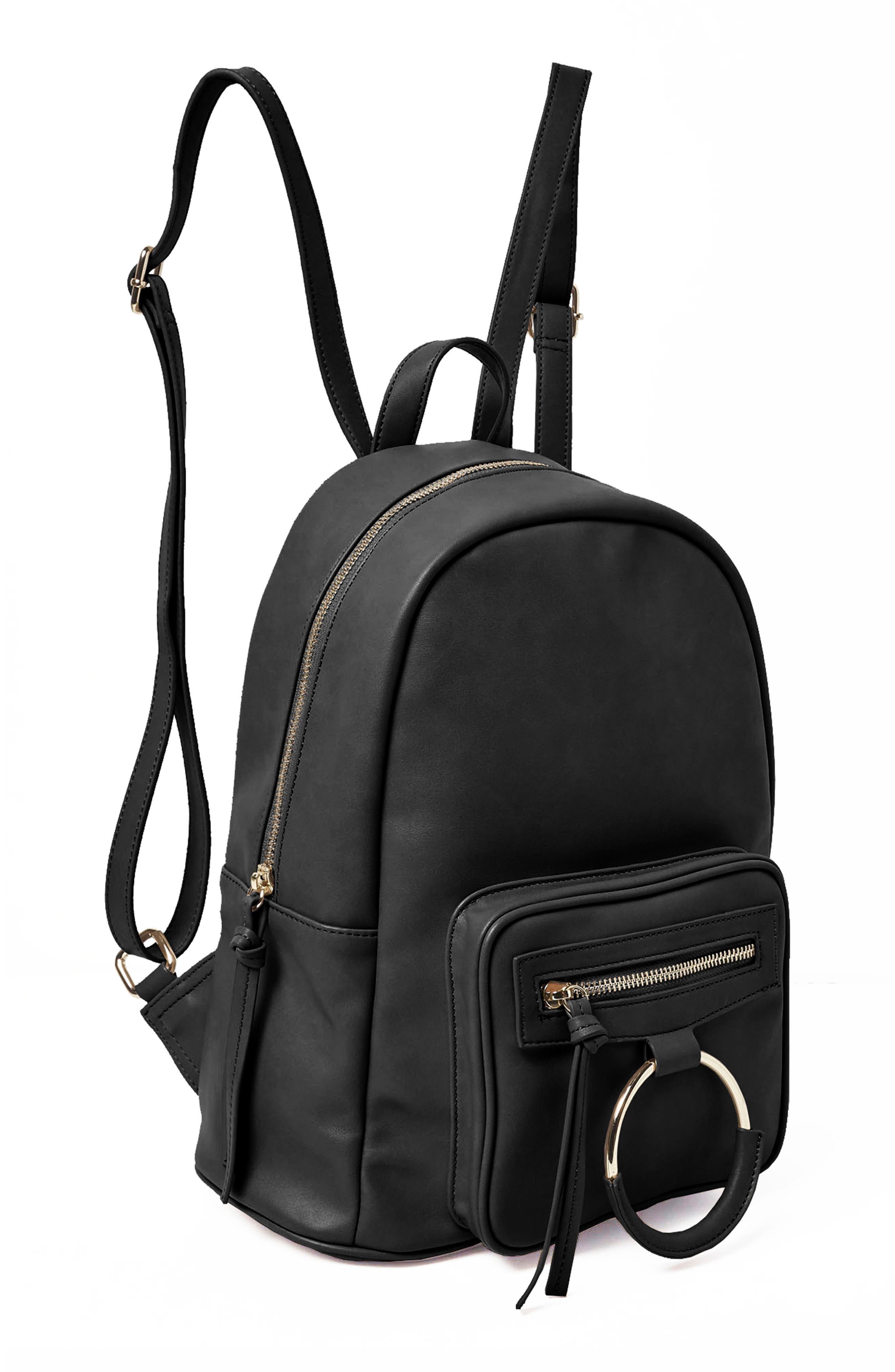 Sublime Vegan Leather Backpack,                             Alternate thumbnail 4, color,                             001