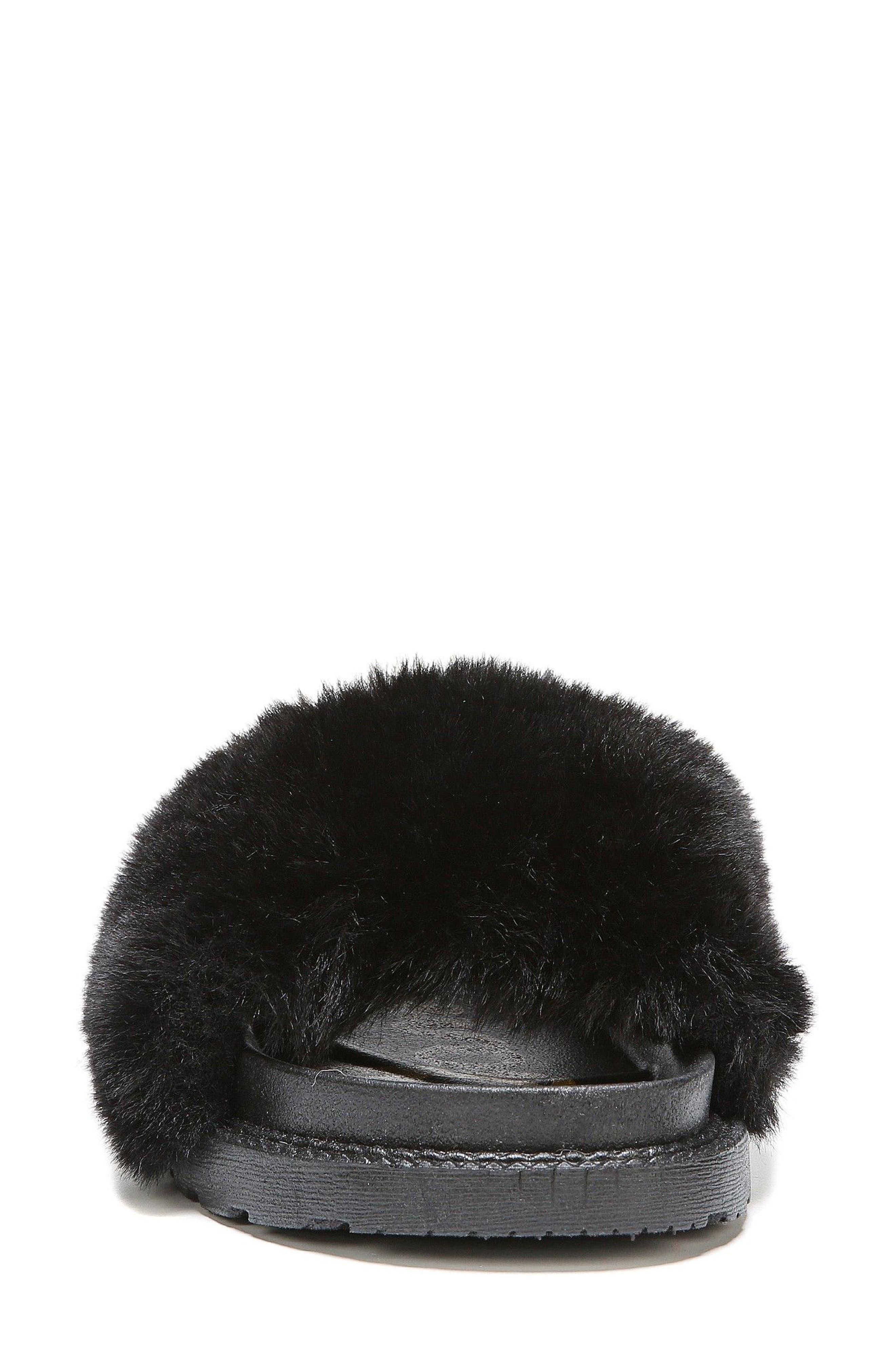 SAM EDELMAN,                             Blaire Faux Fur Platform Slide Sandal,                             Alternate thumbnail 4, color,                             001