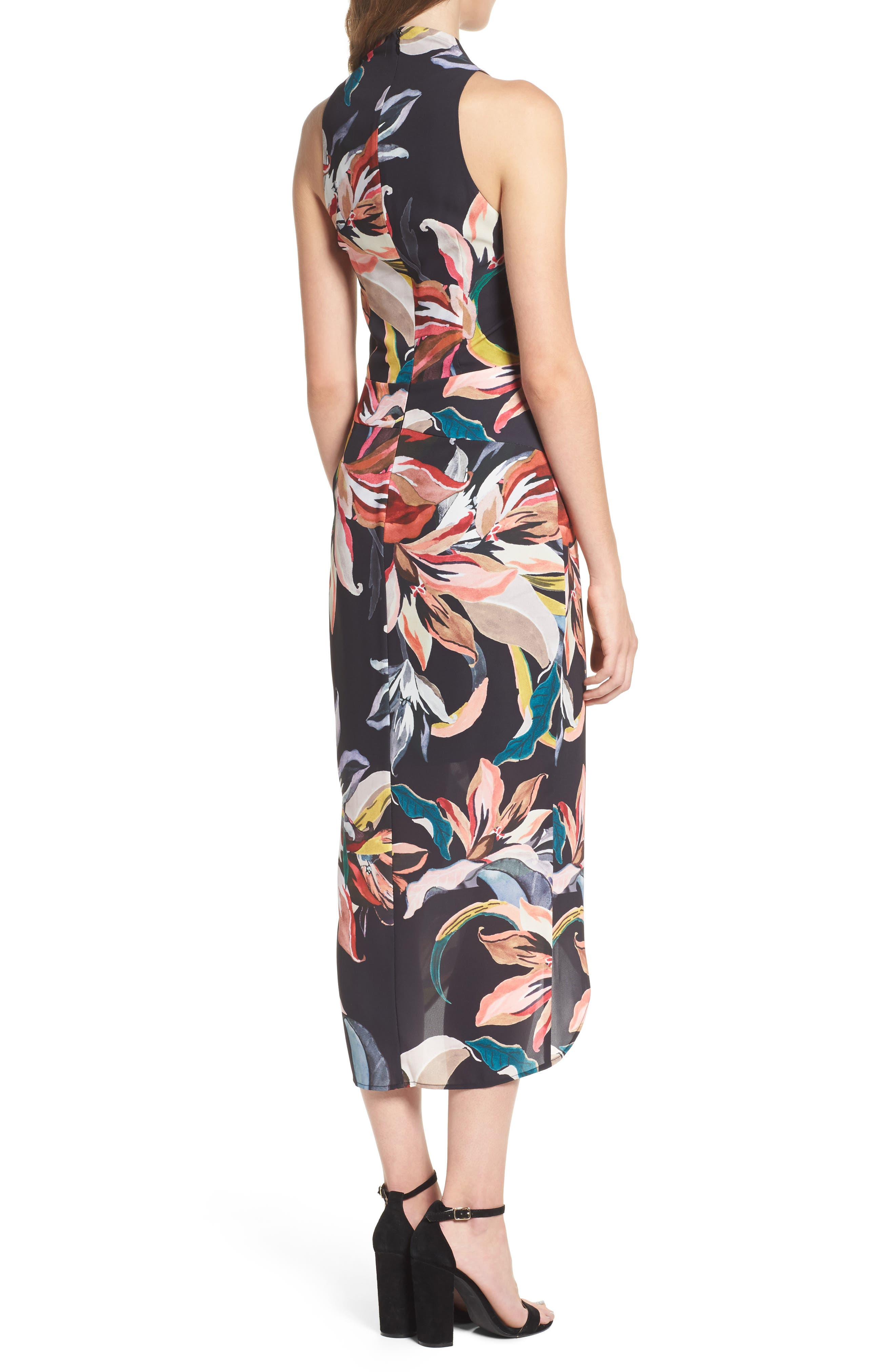 Jourdan Drape Midi Dress,                             Alternate thumbnail 2, color,                             009