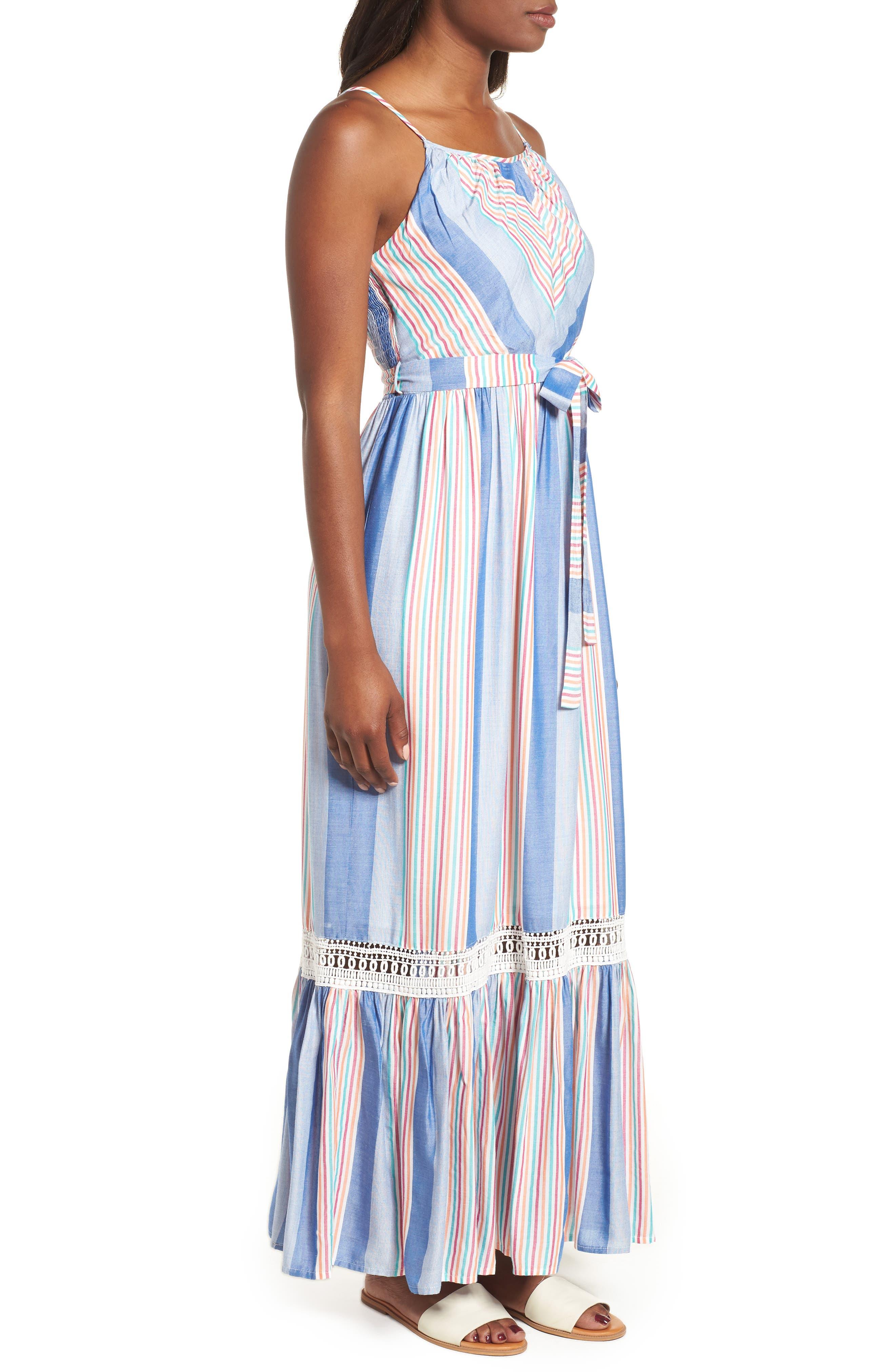 Tie Waist Cotton Maxi Dress,                             Alternate thumbnail 12, color,