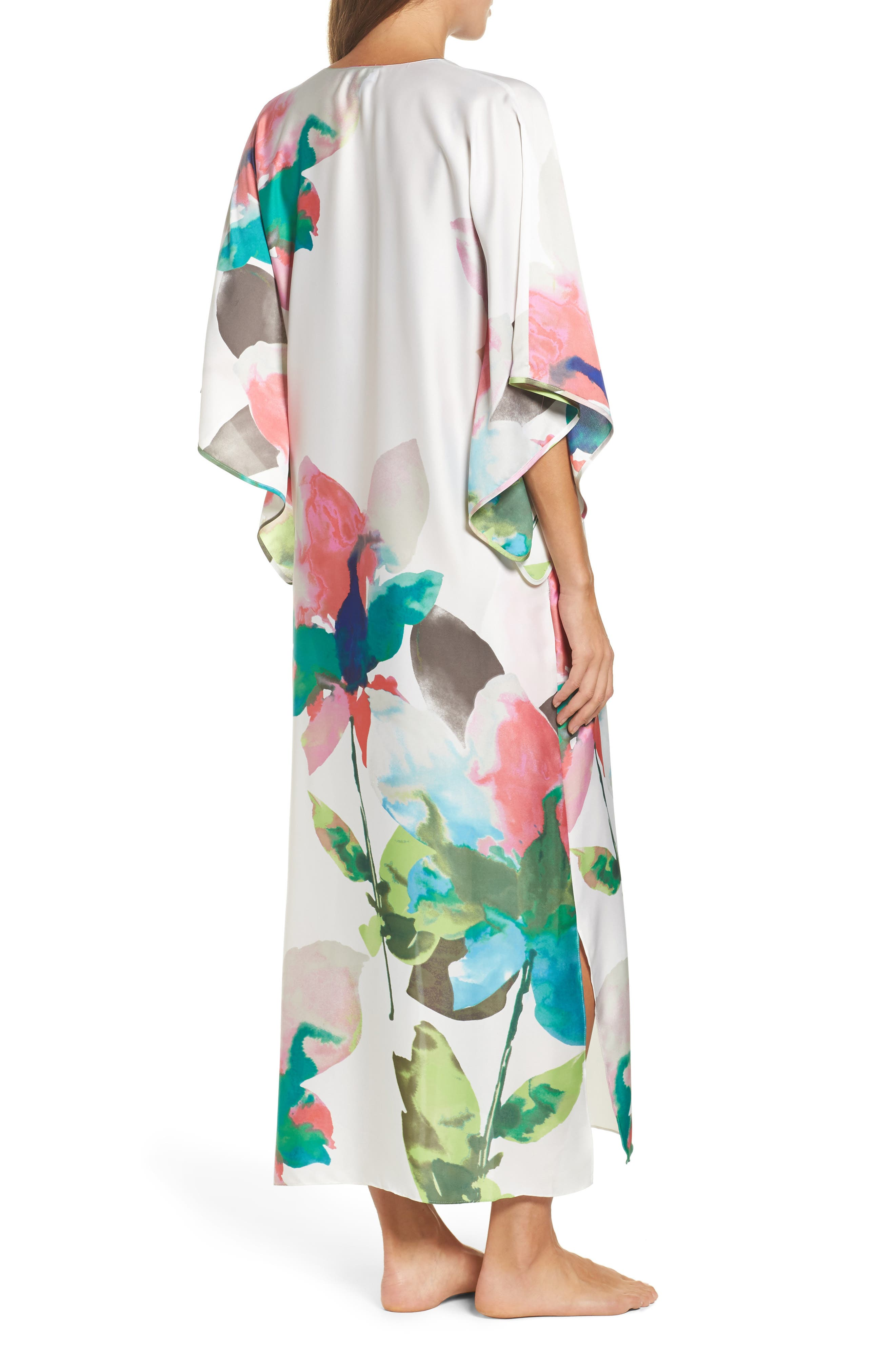 Water Lily Print Satin Caftan,                             Alternate thumbnail 2, color,                             100