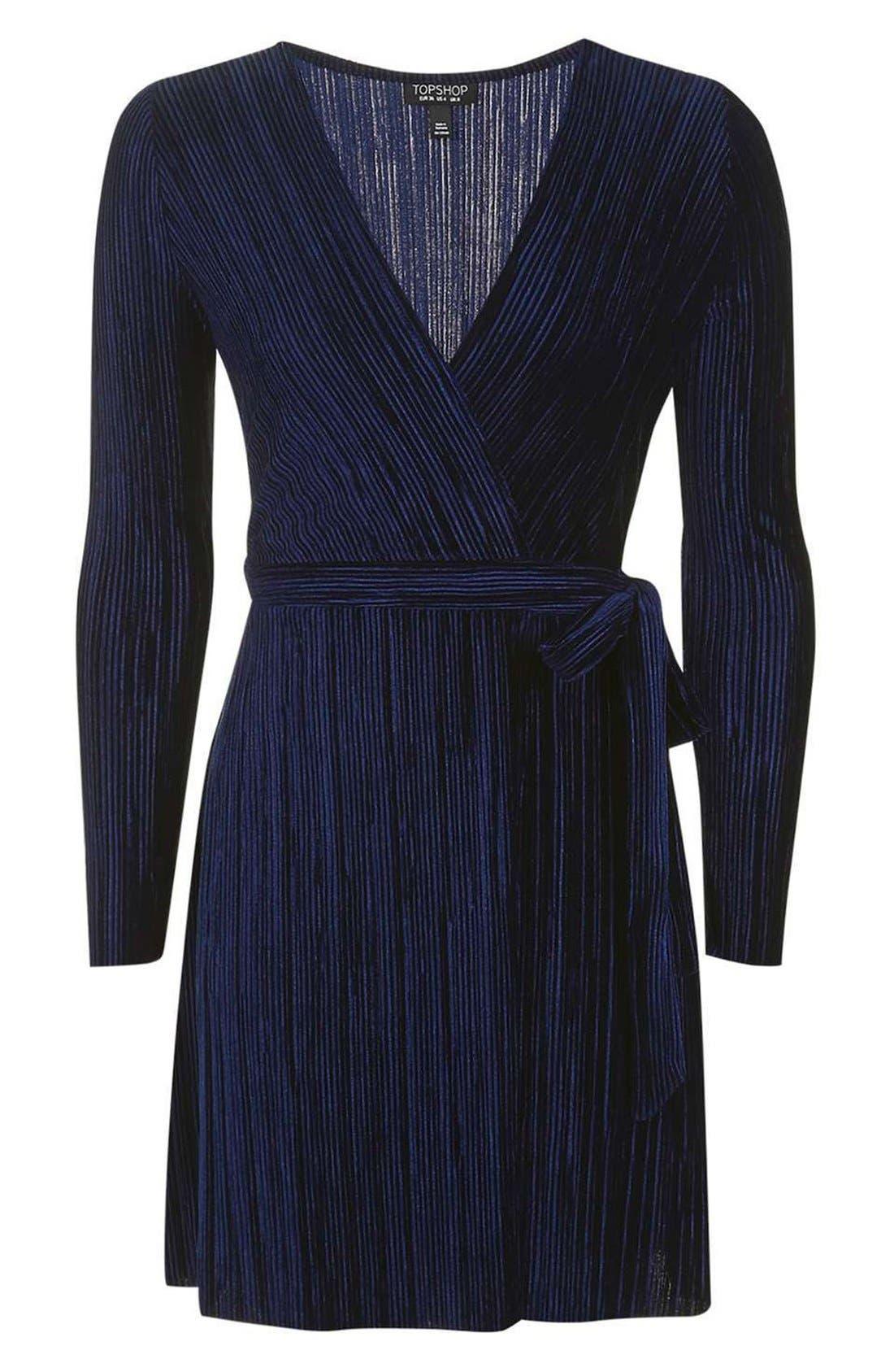 Velvet Wrap Dress,                             Alternate thumbnail 6, color,                             410