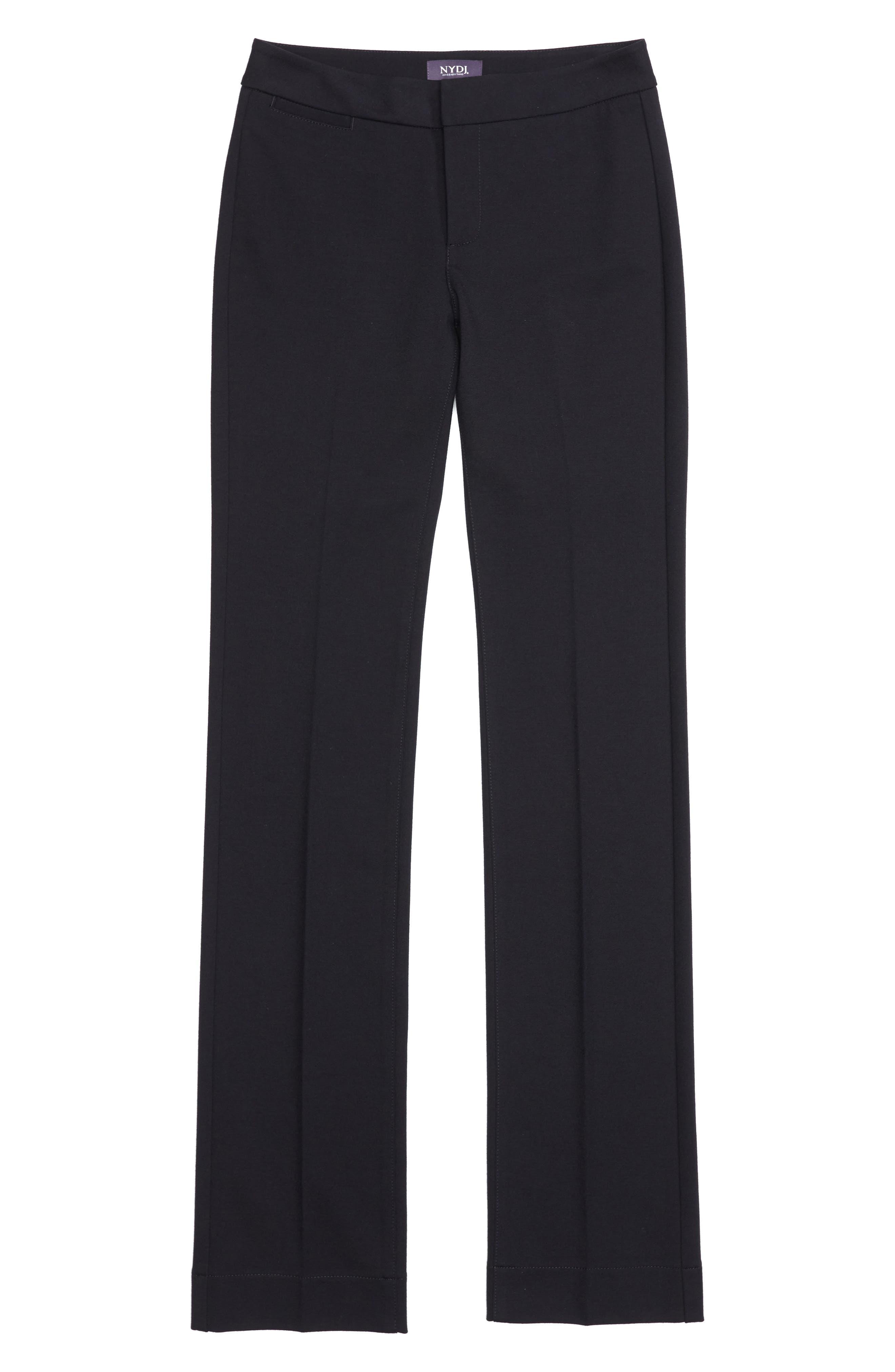 Stretch Knit Straight Leg Trousers,                             Alternate thumbnail 6, color,                             BLACK