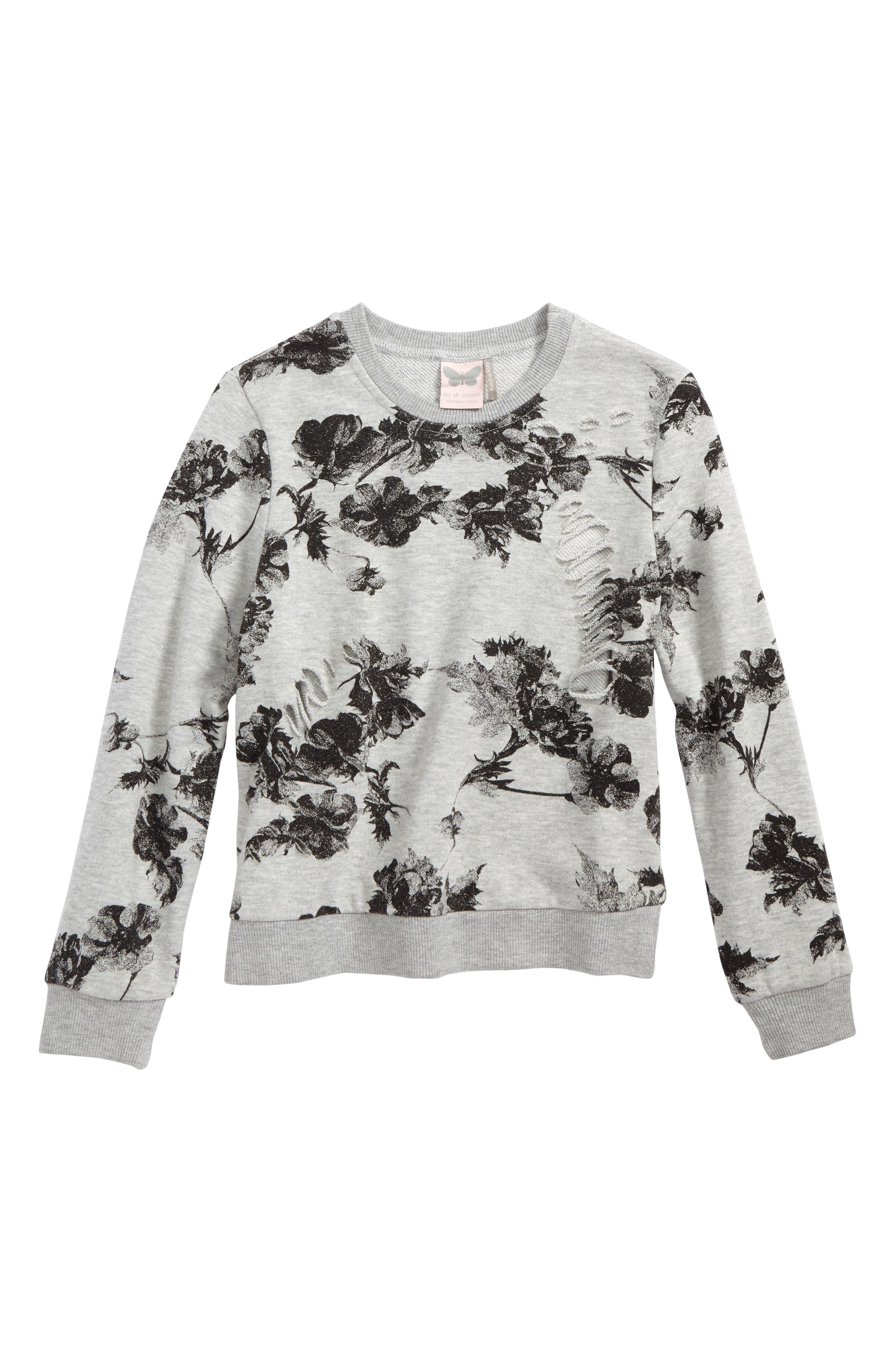 Floral Print Sweatshirt,                         Main,                         color, 079