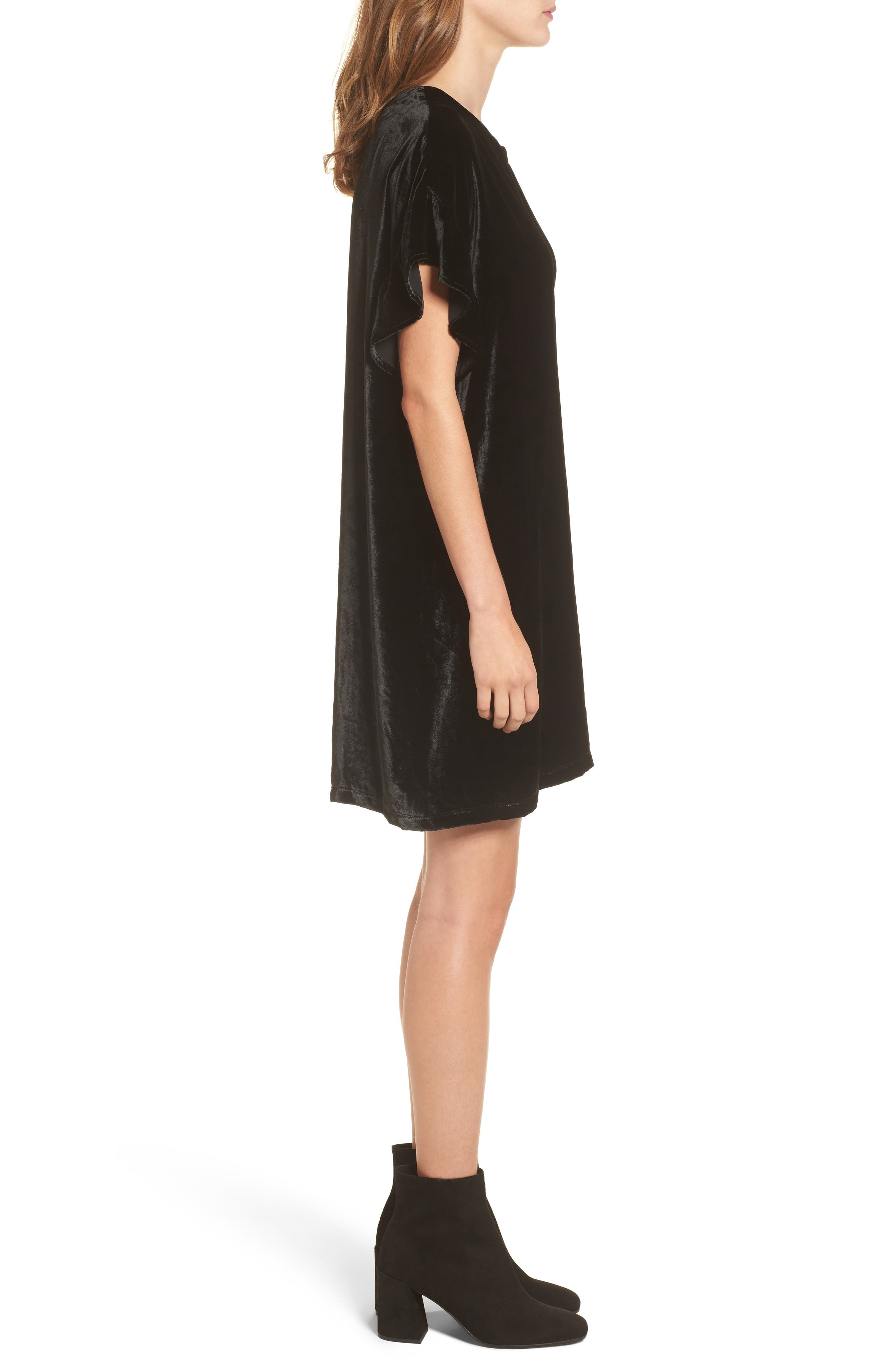 The Janie Velvet Shift Dress,                             Alternate thumbnail 3, color,                             001