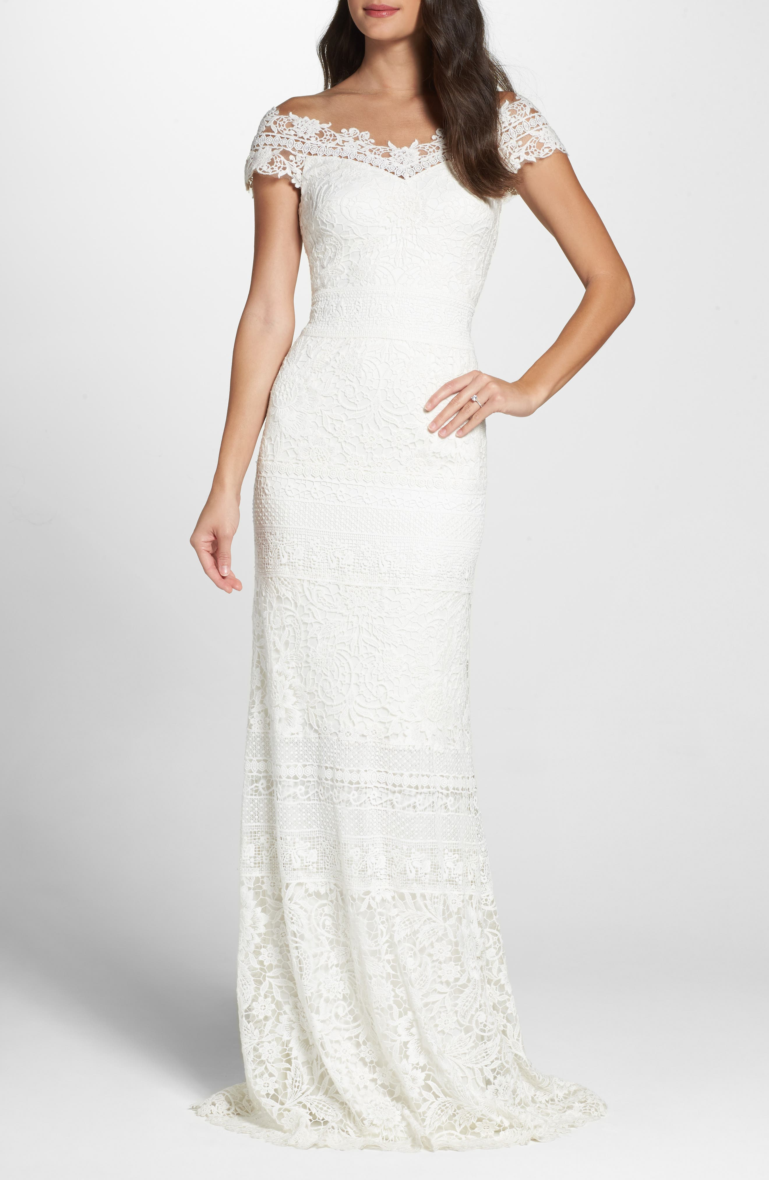 Tadashi Shoji Off The Shoulder Illusion Lace Gown, Ivory