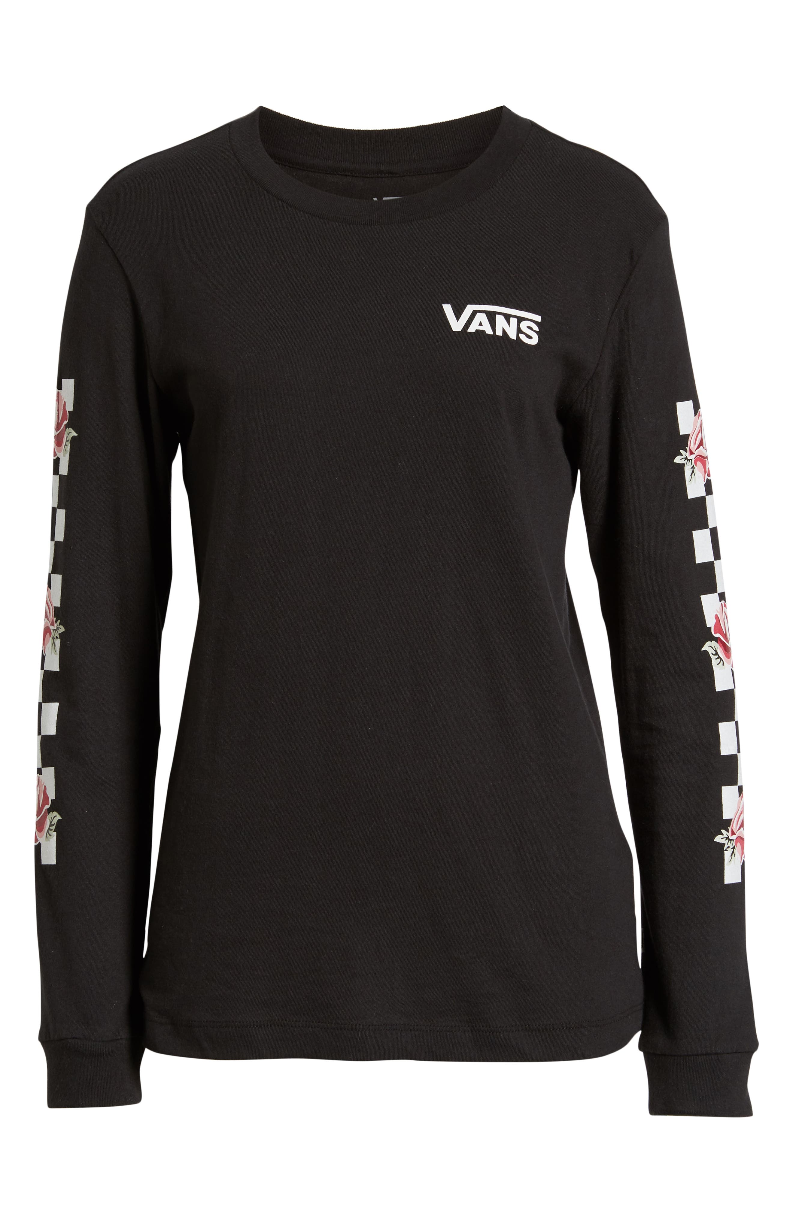 Floral Checkerboard Print Tee,                             Alternate thumbnail 6, color,                             001