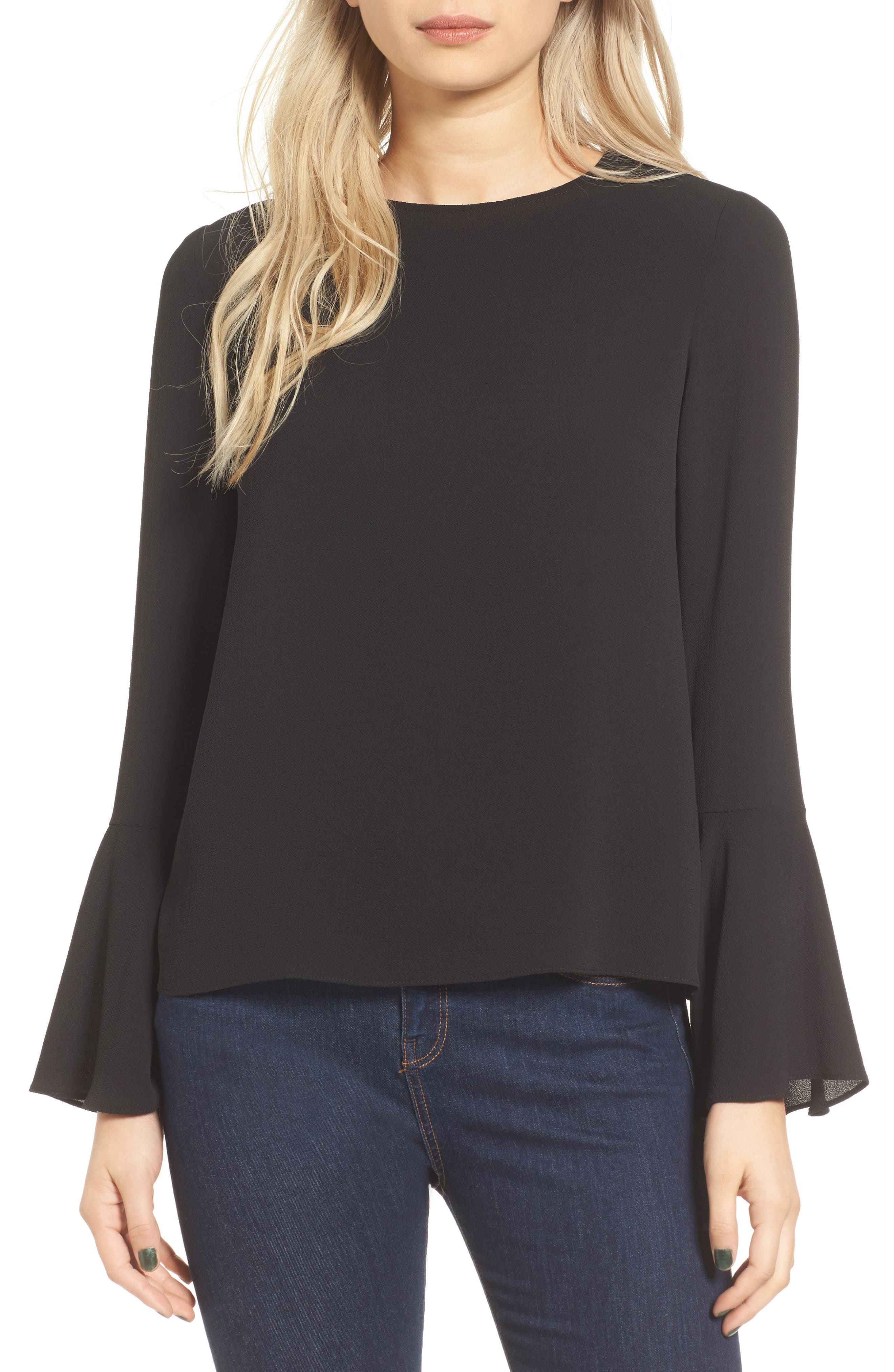 Winning Hand Bell Sleeve Top,                         Main,                         color, 001