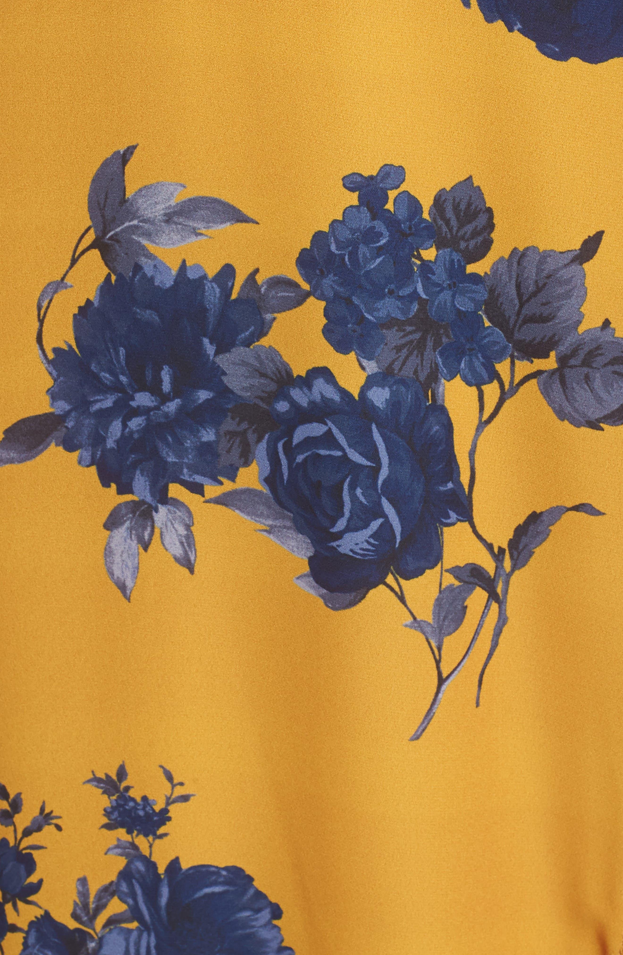 CHELSEA28,                             Floral Print Faux Wrap Maxi Dress,                             Alternate thumbnail 6, color,                             YELLOW NAVY