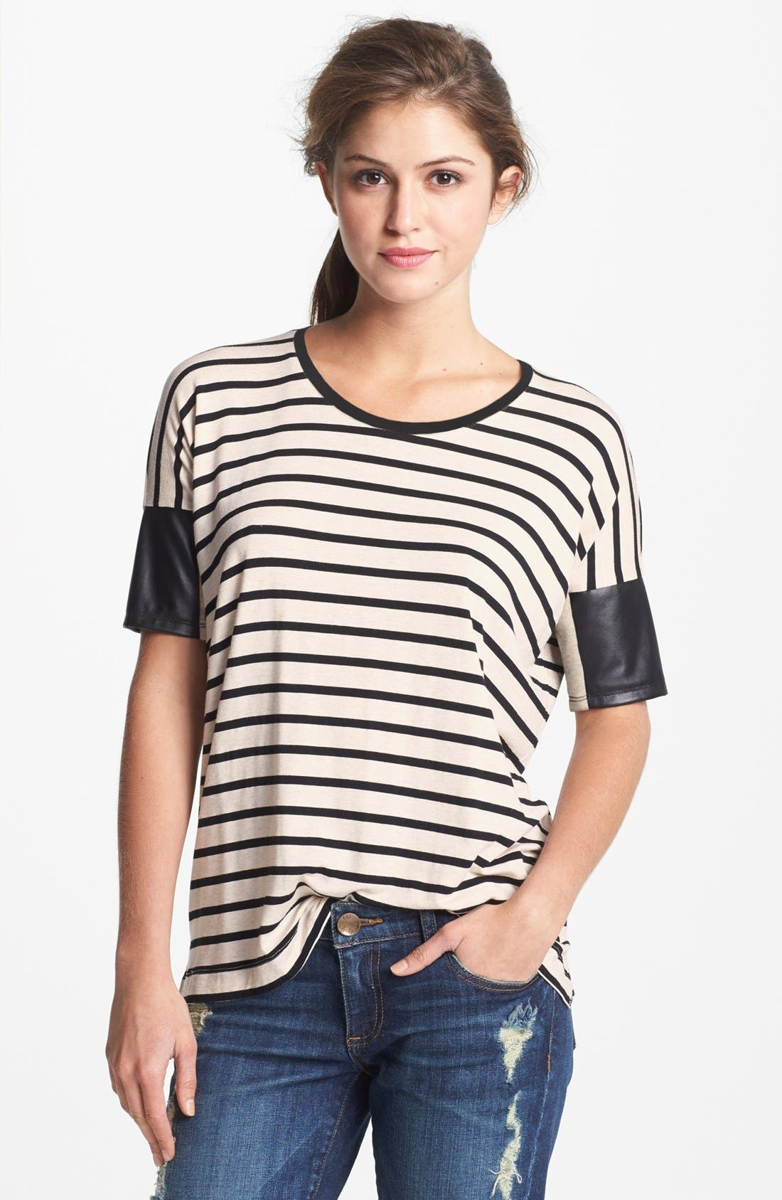 Faux Leather Sleeve Stripe Tee,                         Main,                         color, 250