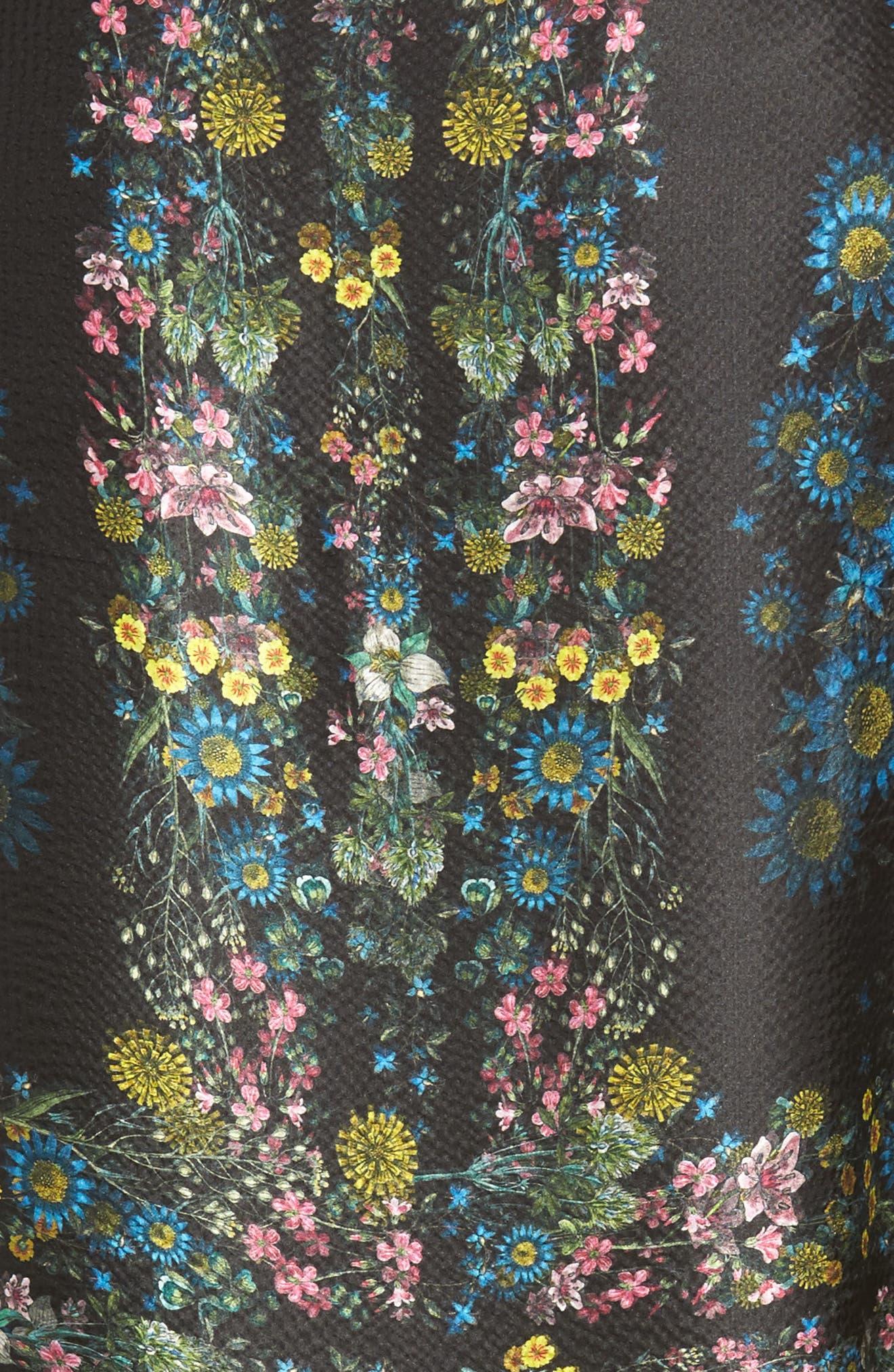Unity Floral Silk Cape Scarf,                             Alternate thumbnail 5, color,                             001
