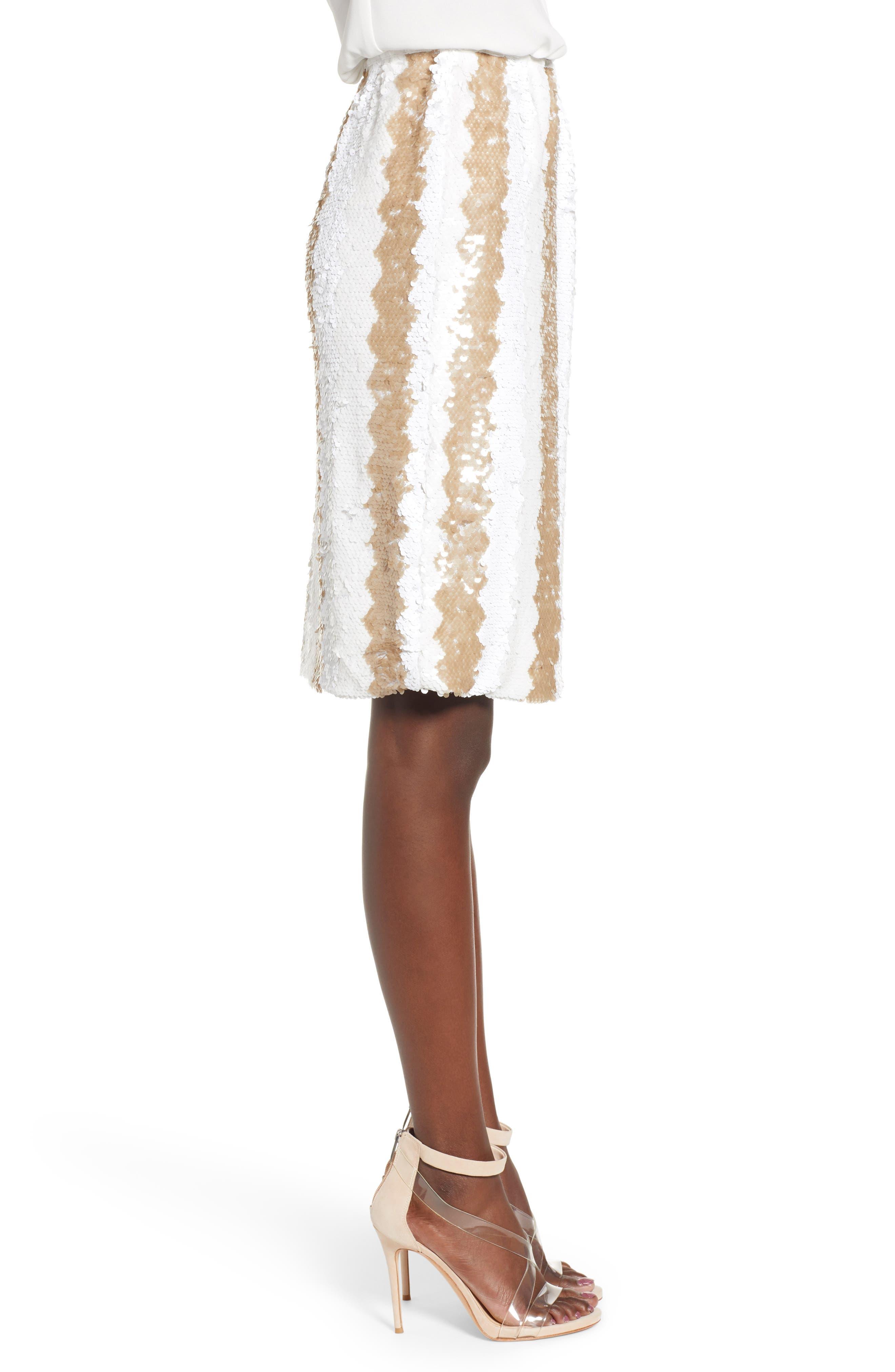 Sequin Pencil Skirt,                             Alternate thumbnail 3, color,                             100