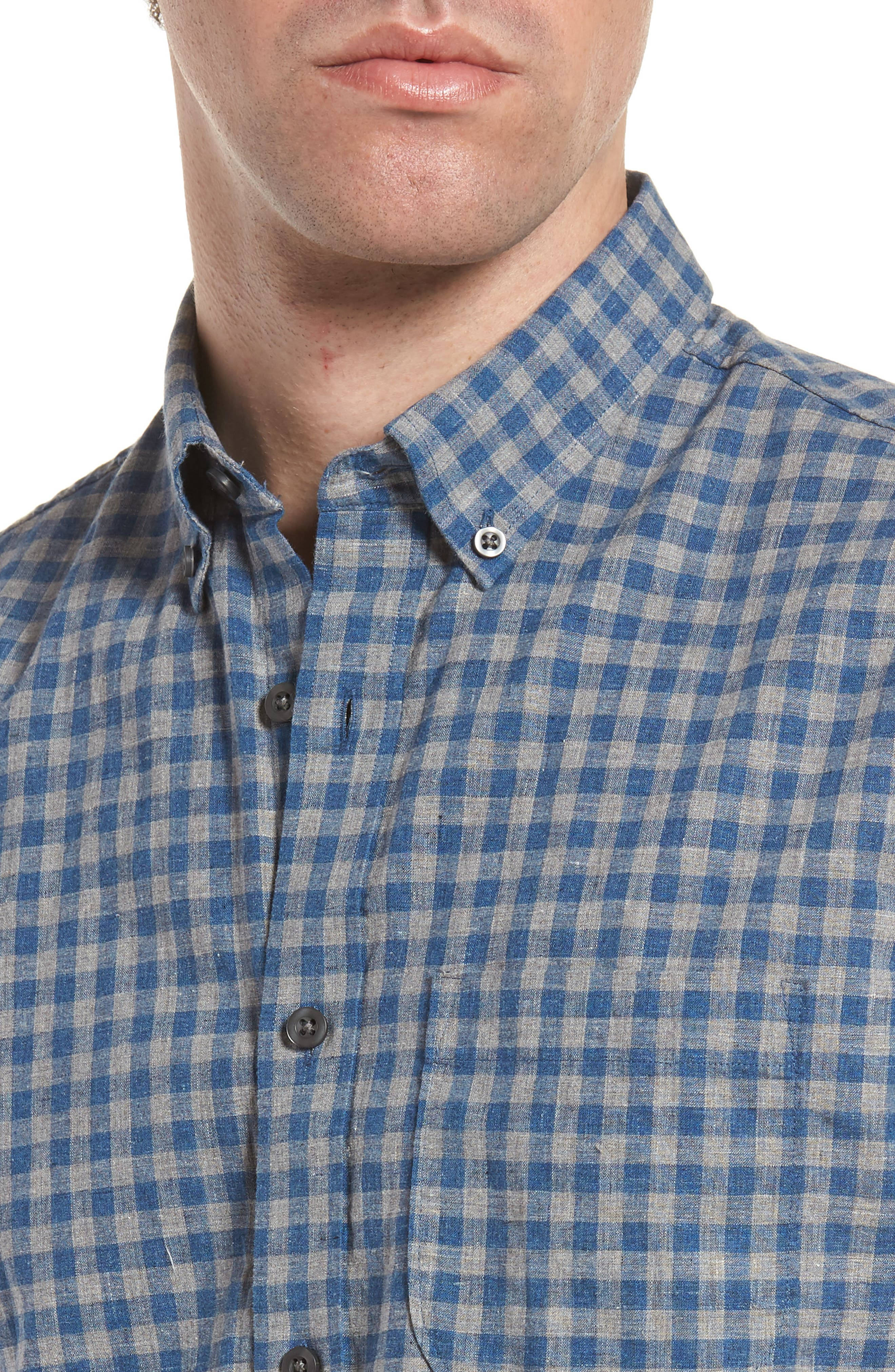 Trim Fit Heather Gingham Linen Blend Sport Shirt,                             Alternate thumbnail 4, color,                             030
