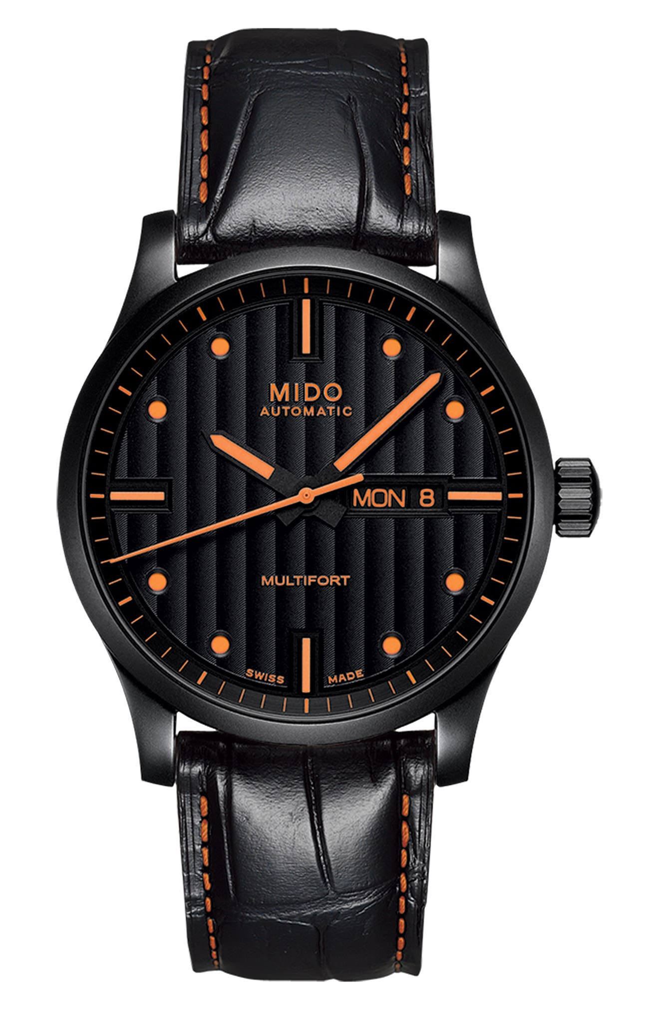 Multifort Automatic Leather Strap Watch, 42mm,                         Main,                         color, BLACK/ ORANGE