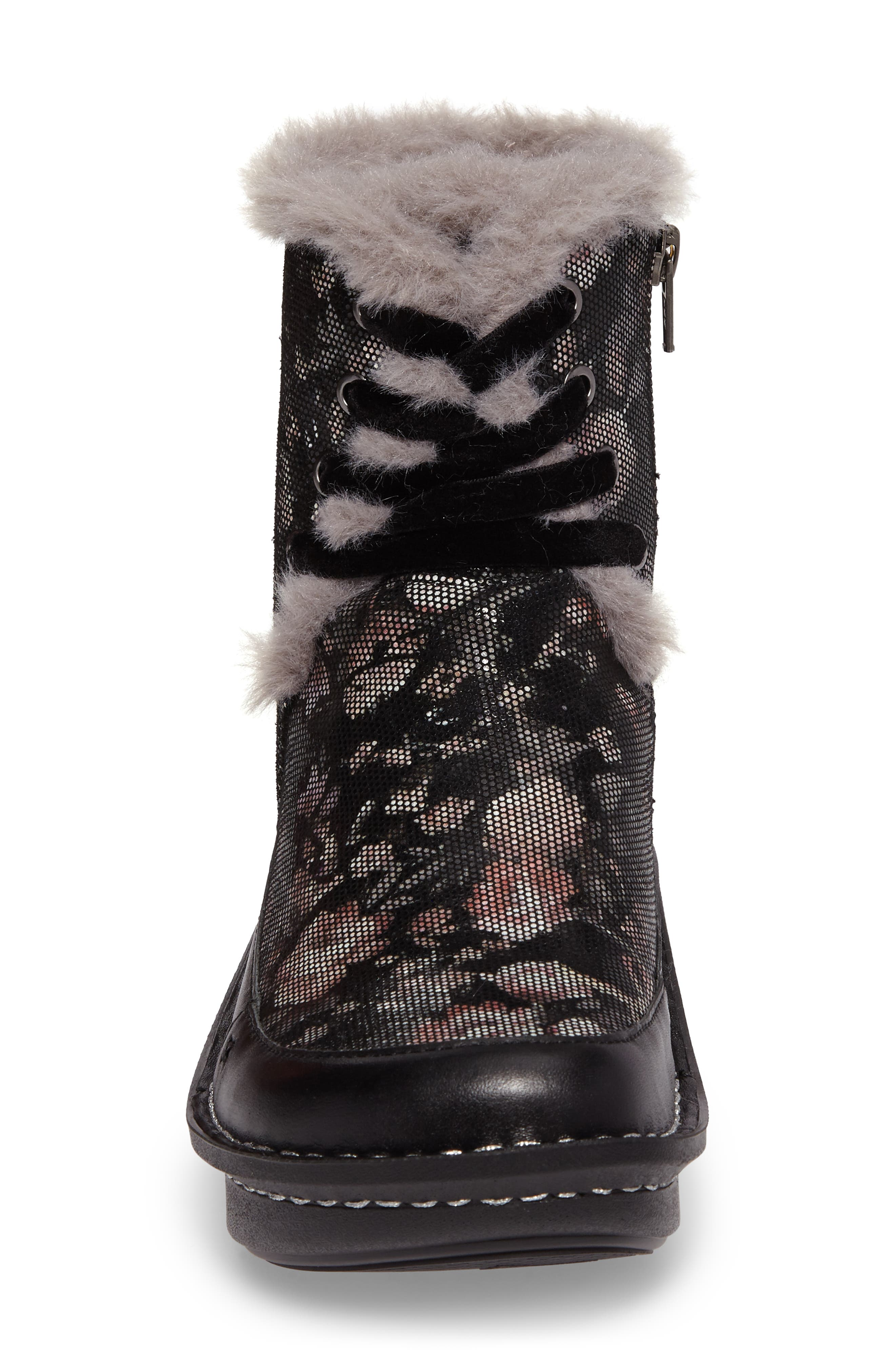Twisp Lace-Up Boot with Faux Fur Lining,                             Alternate thumbnail 4, color,                             001