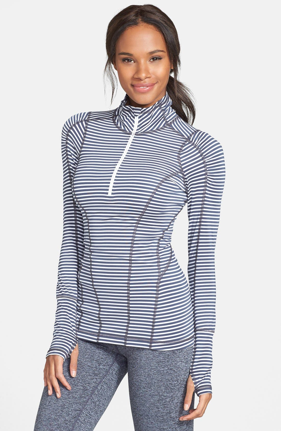 'Run' Stripe Half Zip Pullover,                             Main thumbnail 1, color,                             020