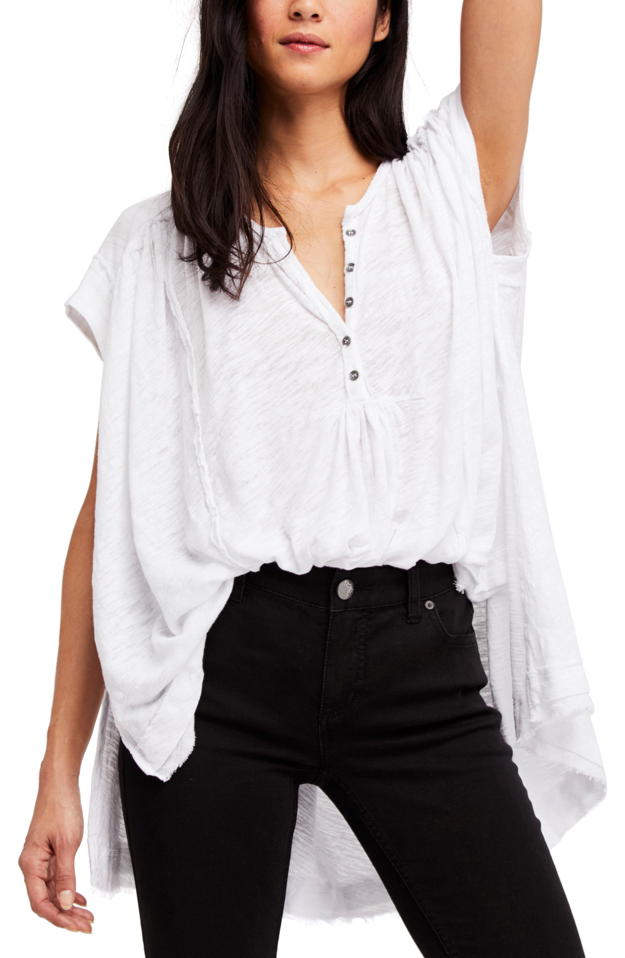 We the Free by Free People Aster Henley Top,                             Main thumbnail 1, color,                             WHITE