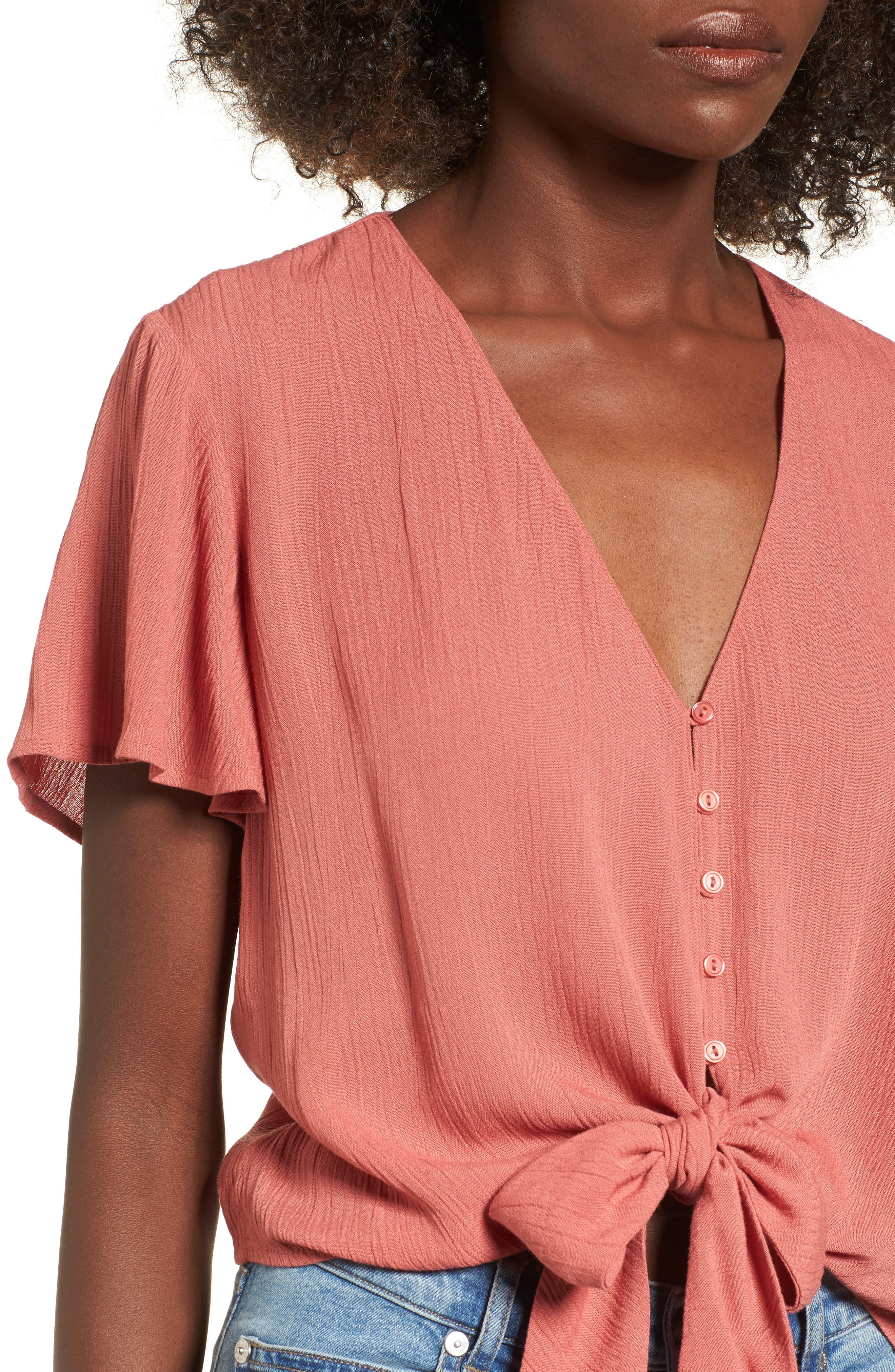 Knot Front Shirt,                             Alternate thumbnail 4, color,                             219