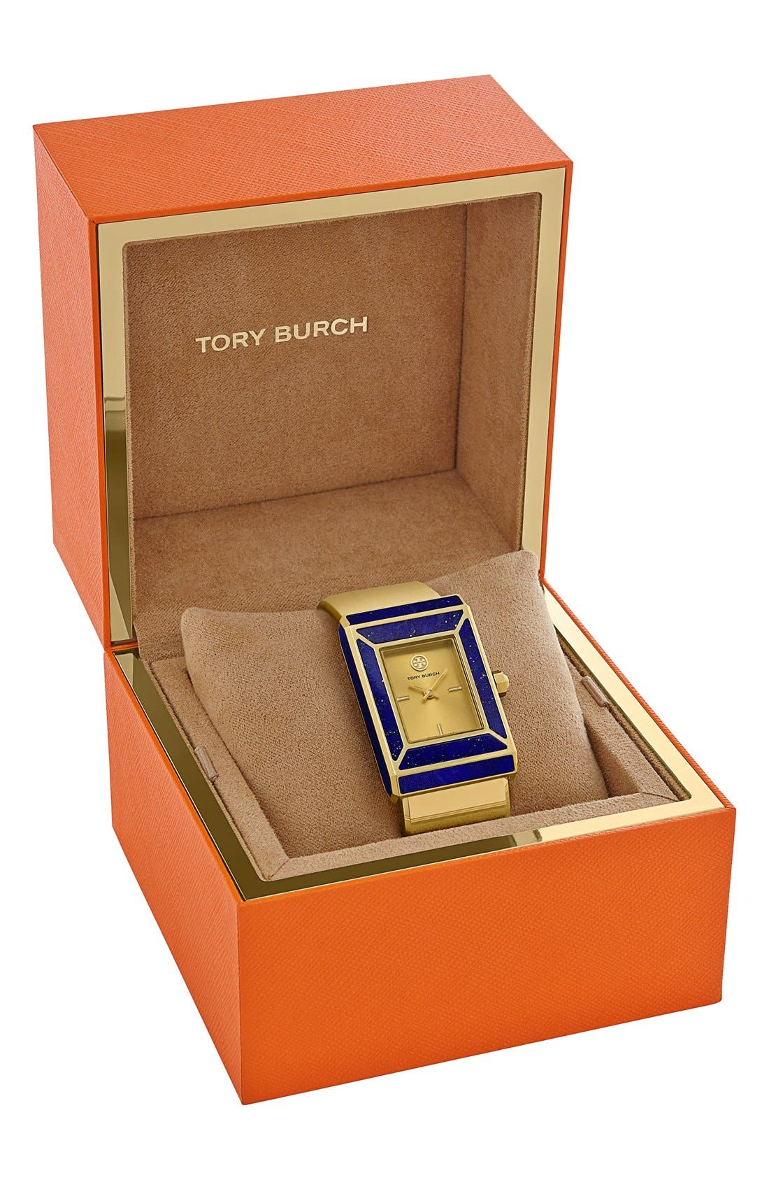 TORY BURCH,                             'Robinson' Rectangle Case Bangle Watch, 25mm x 38mm,                             Alternate thumbnail 3, color,                             710