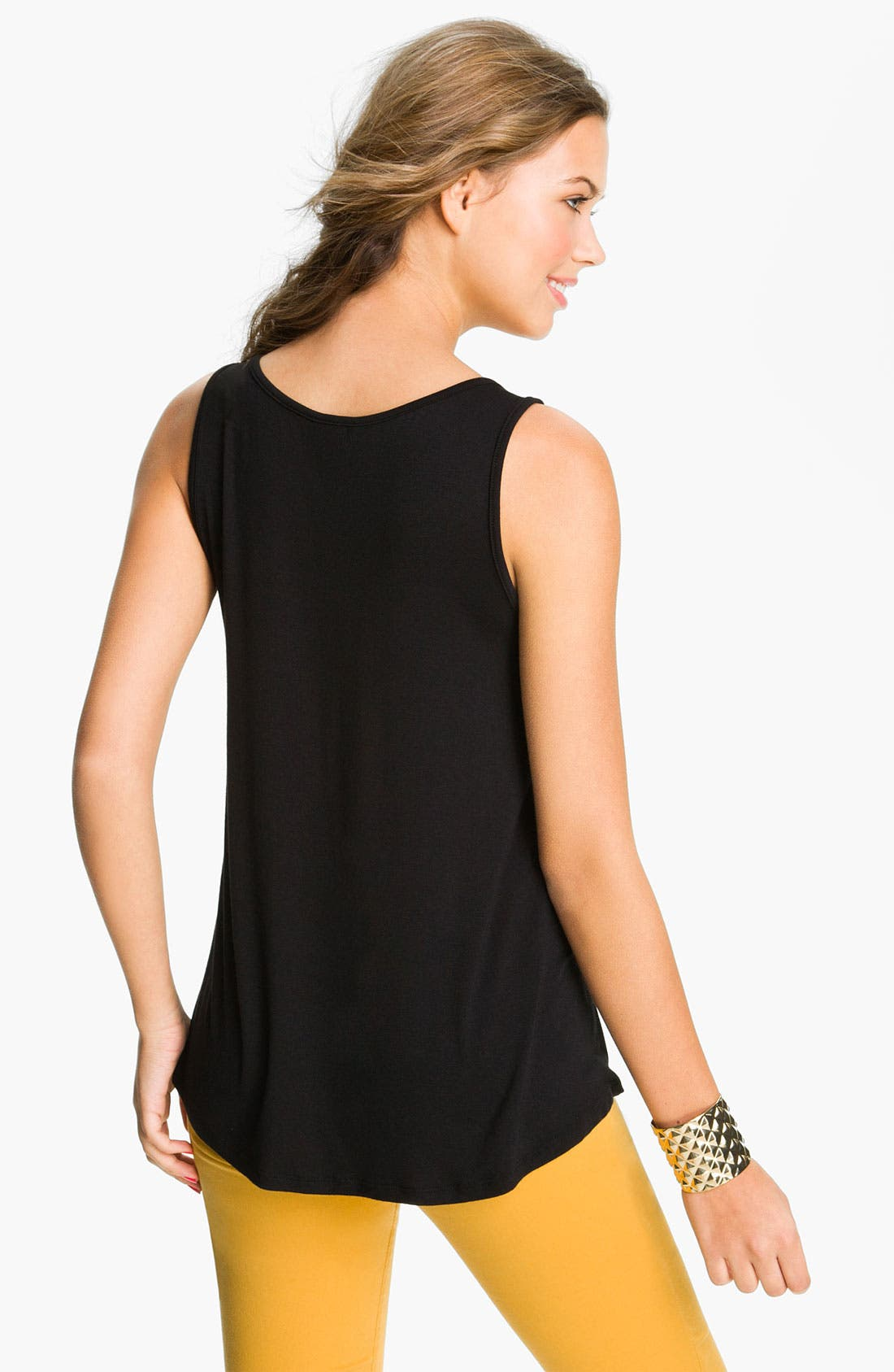 Faux Leather Tank,                             Alternate thumbnail 2, color,                             001