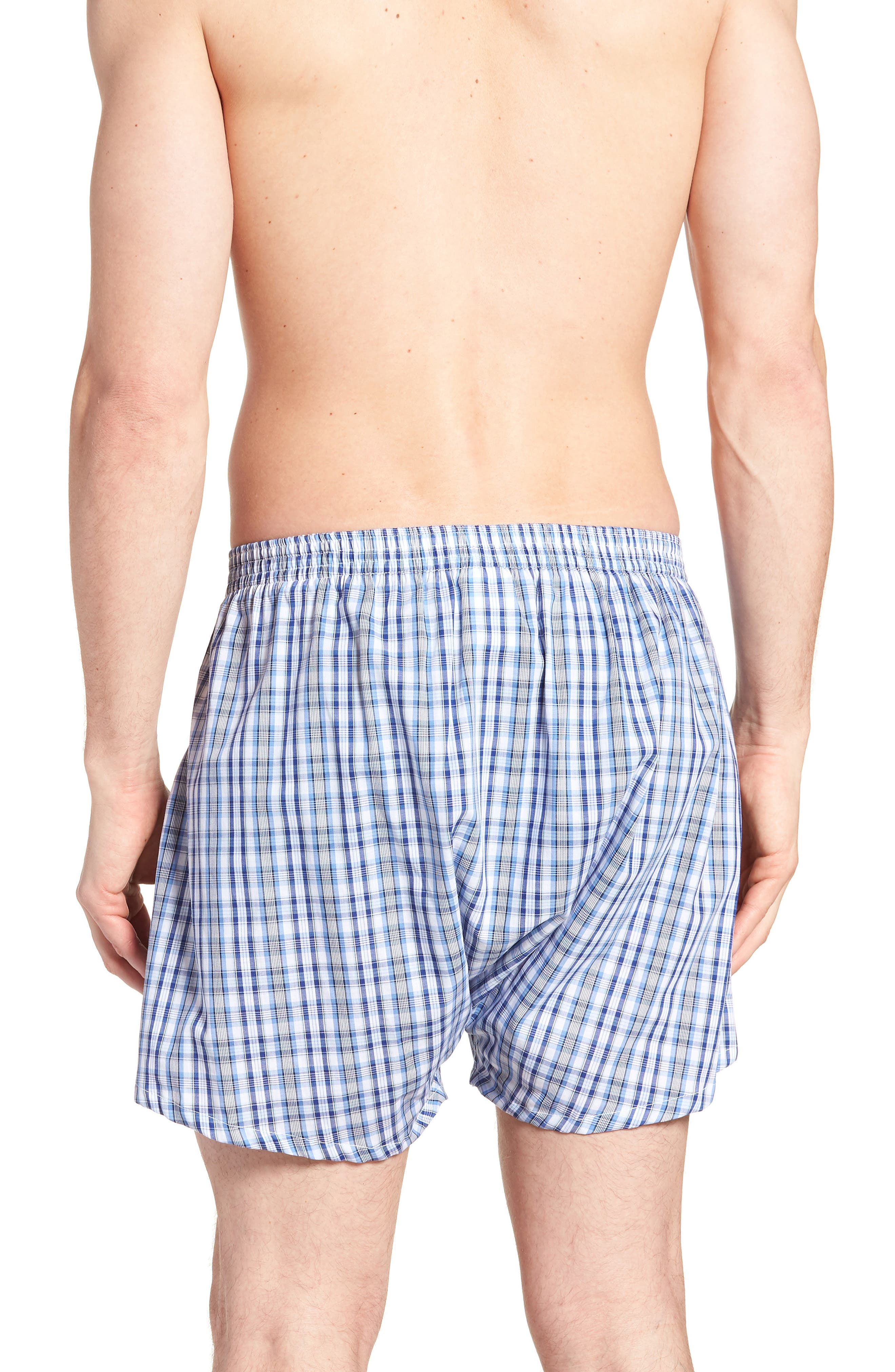 3-Pack Classic Fit Boxers,                             Alternate thumbnail 3, color,                             BLUE DAZZLE SOLID- PLAID PACK
