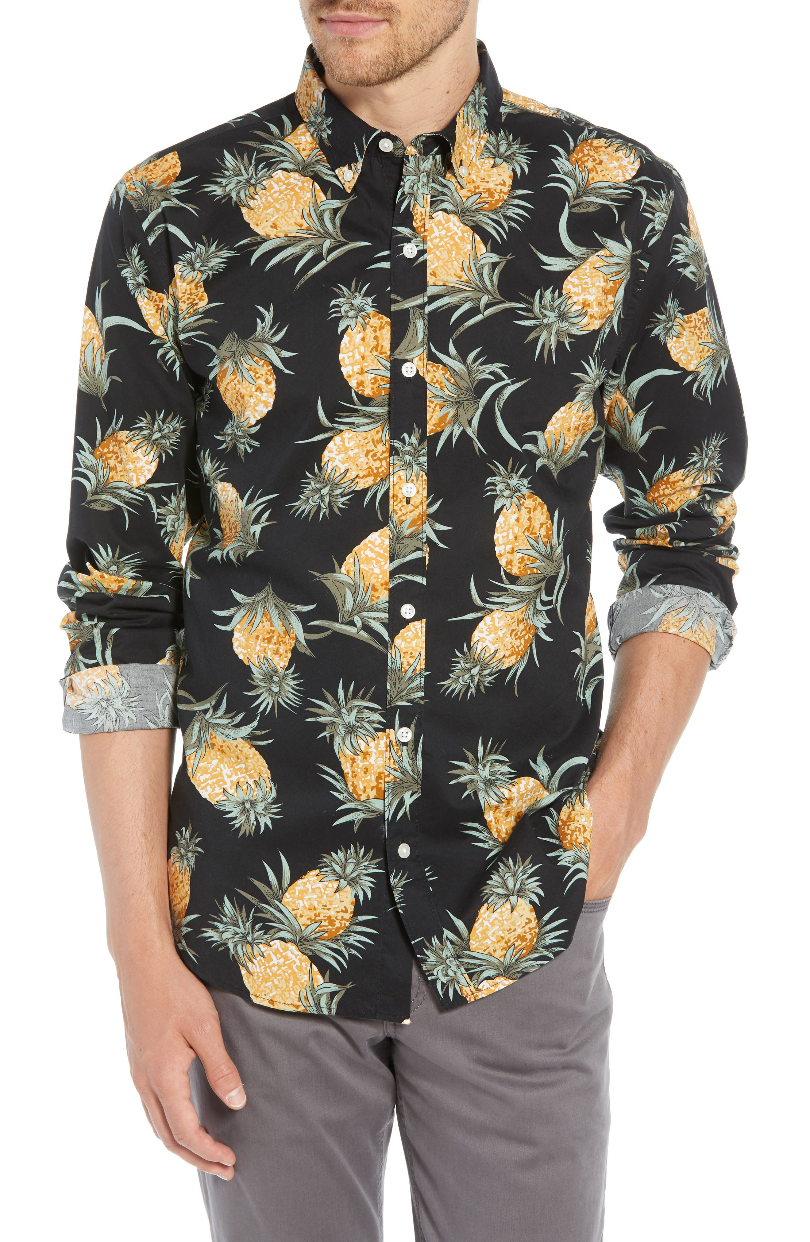Summerweight Slim Fit Pineapple Print Sport Shirt,                         Main,                         color, PINEAPPLES - JET BLACK