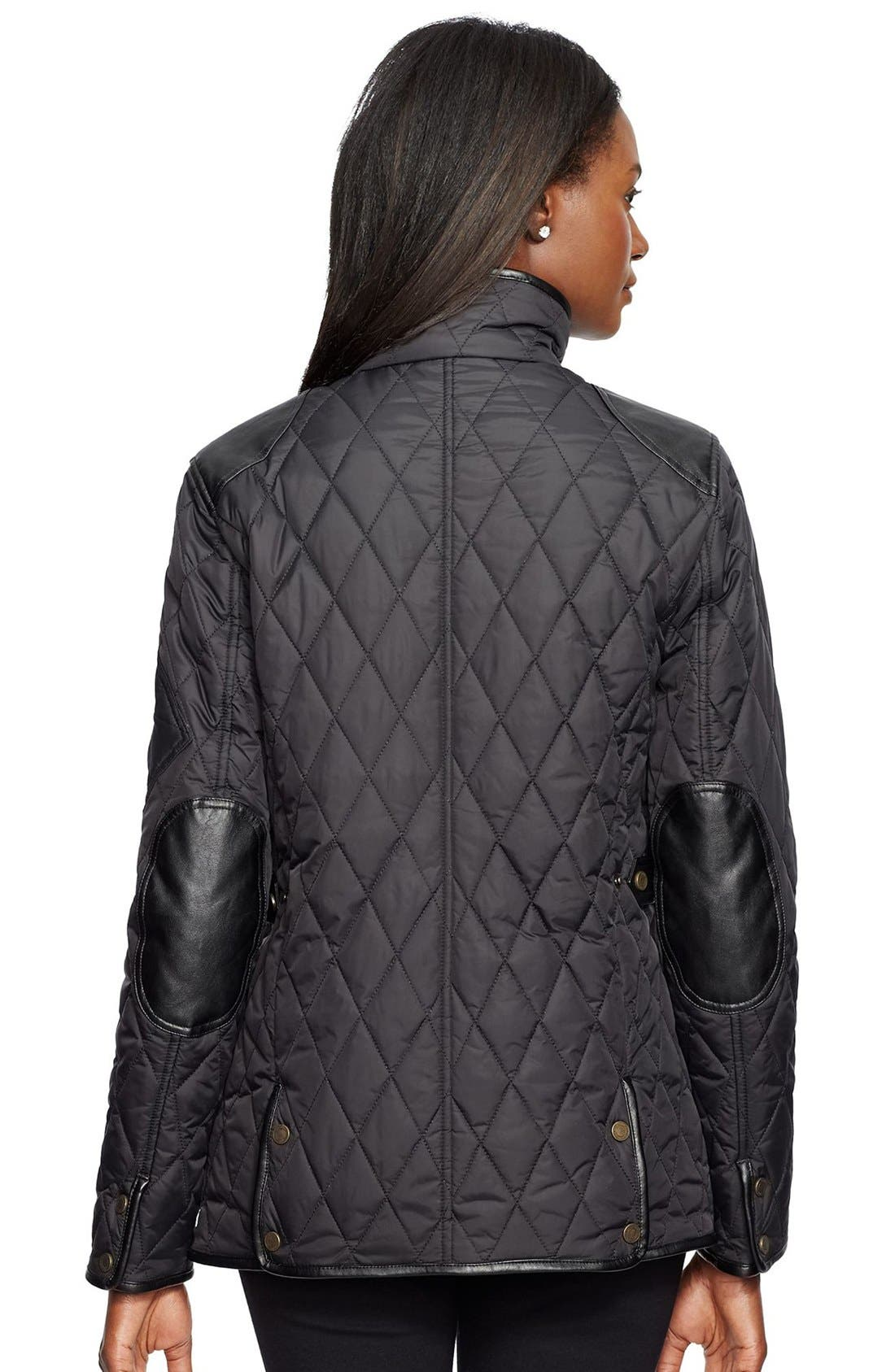 Faux Leather Trim Quilted Jacket,                             Alternate thumbnail 2, color,                             001