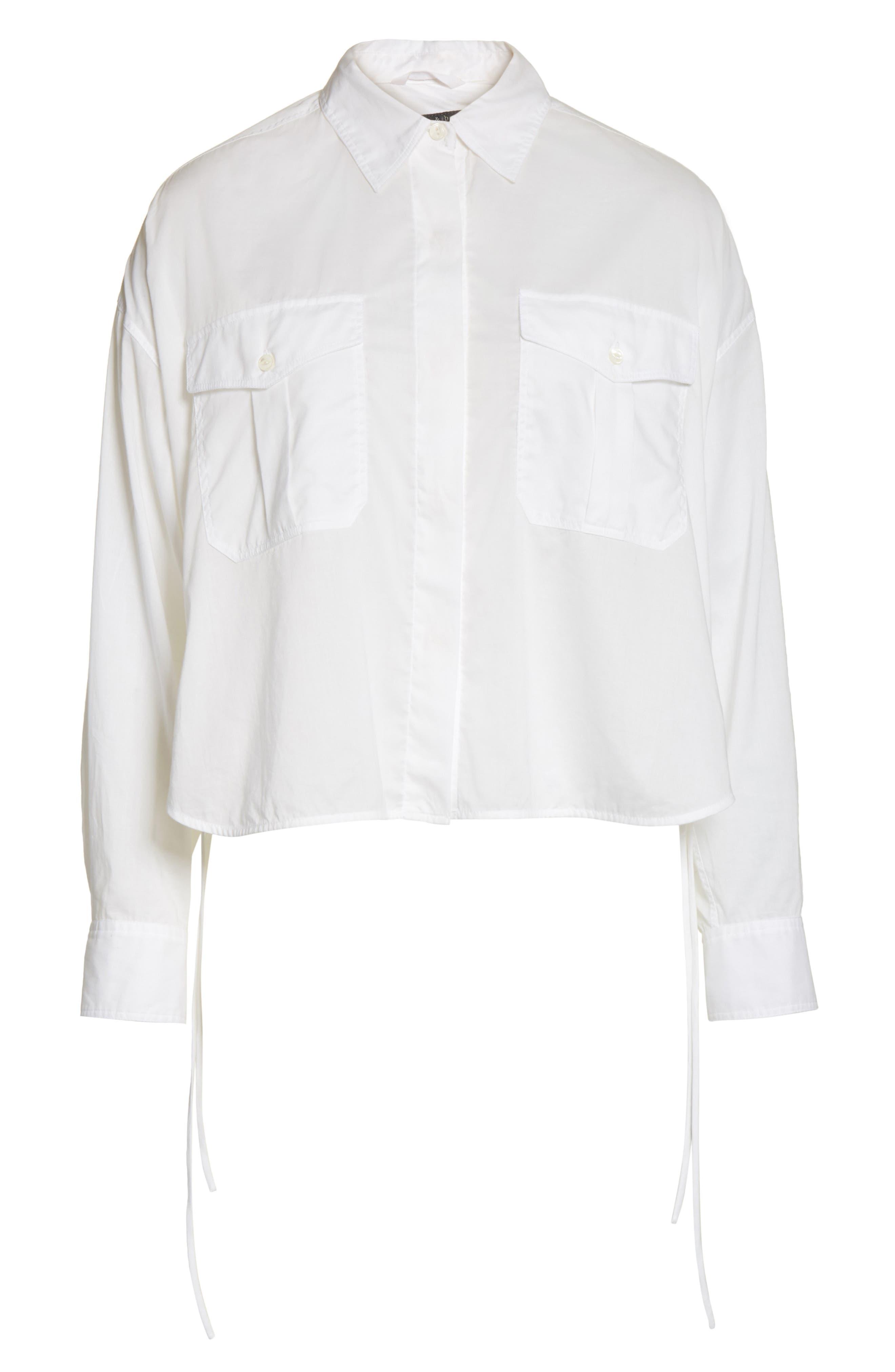 Mason Crop Shirt,                             Alternate thumbnail 6, color,                             100