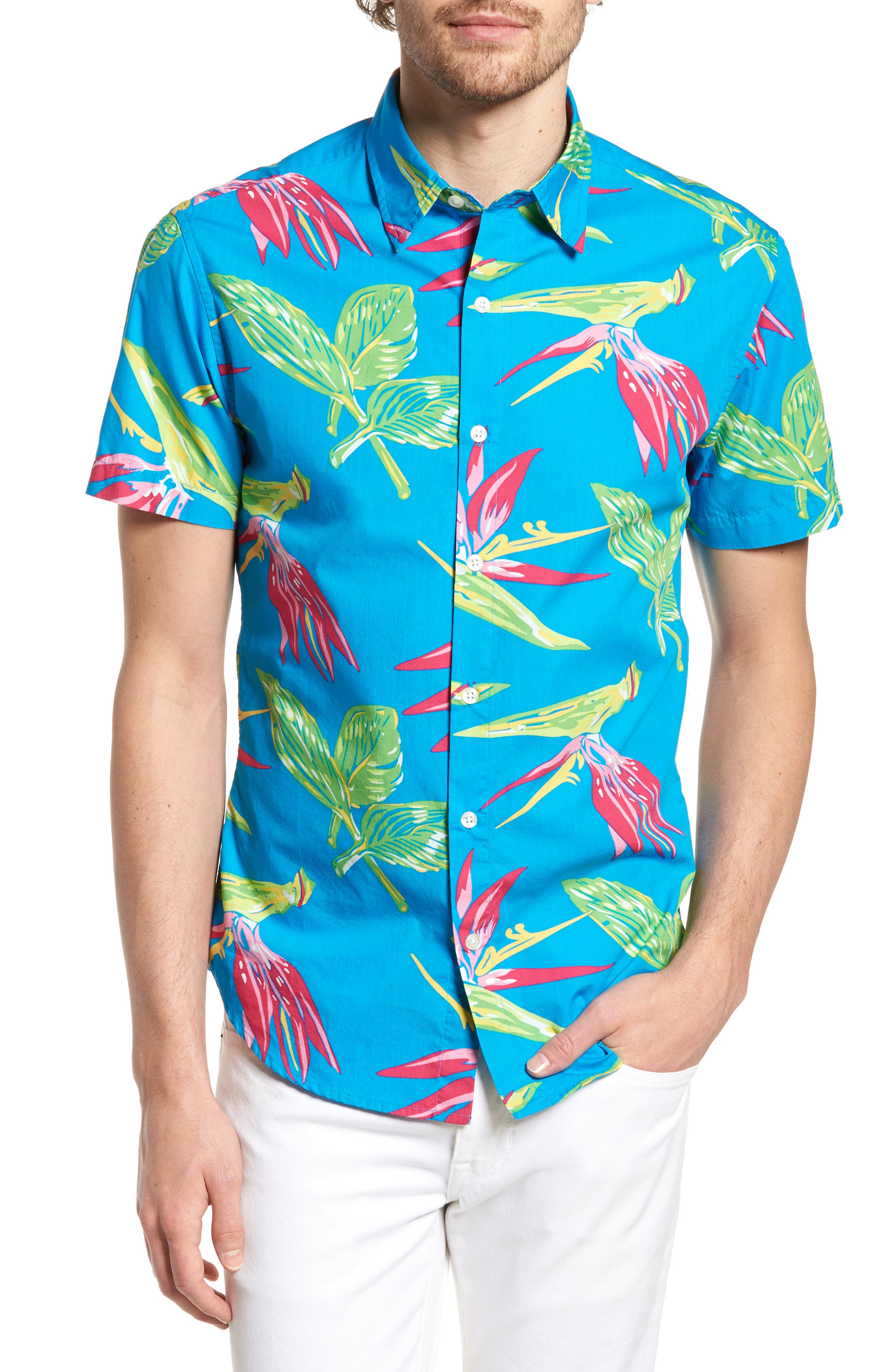 Slim Fit Print Short Sleeve Sport Shirt,                             Main thumbnail 1, color,                             400