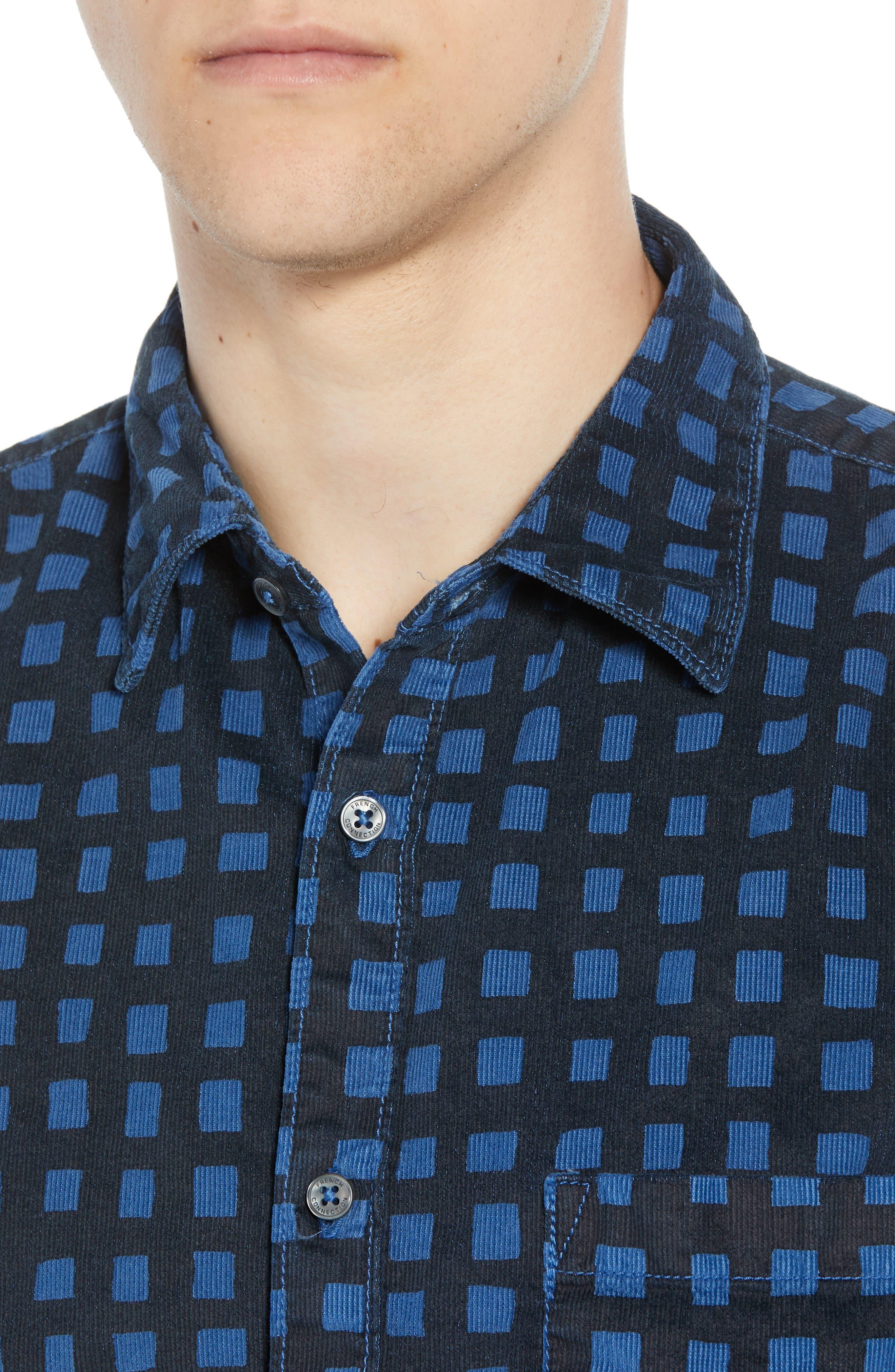 Gridlock Regular Fit Corduroy Shirt,                             Alternate thumbnail 2, color,                             FATHOM BLUE