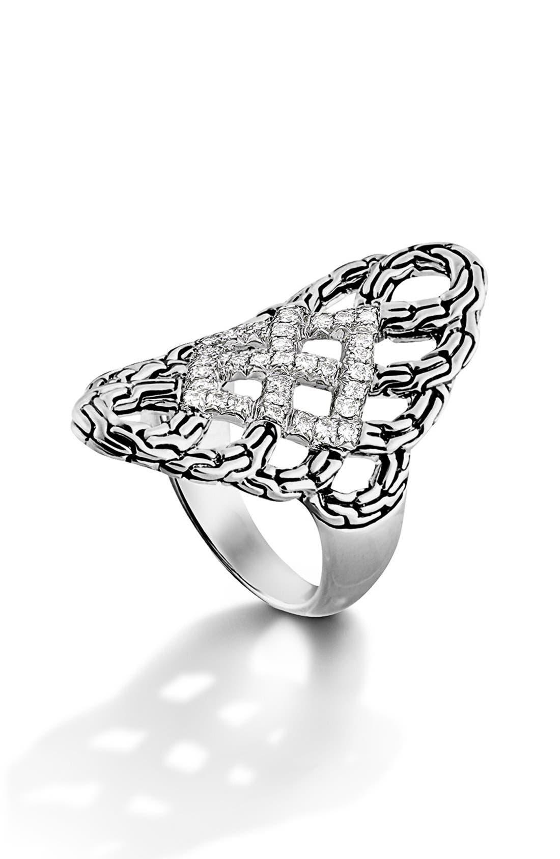 JOHN HARDY,                             'Classic Chain' Diamond Saddle Ring,                             Main thumbnail 1, color,                             040