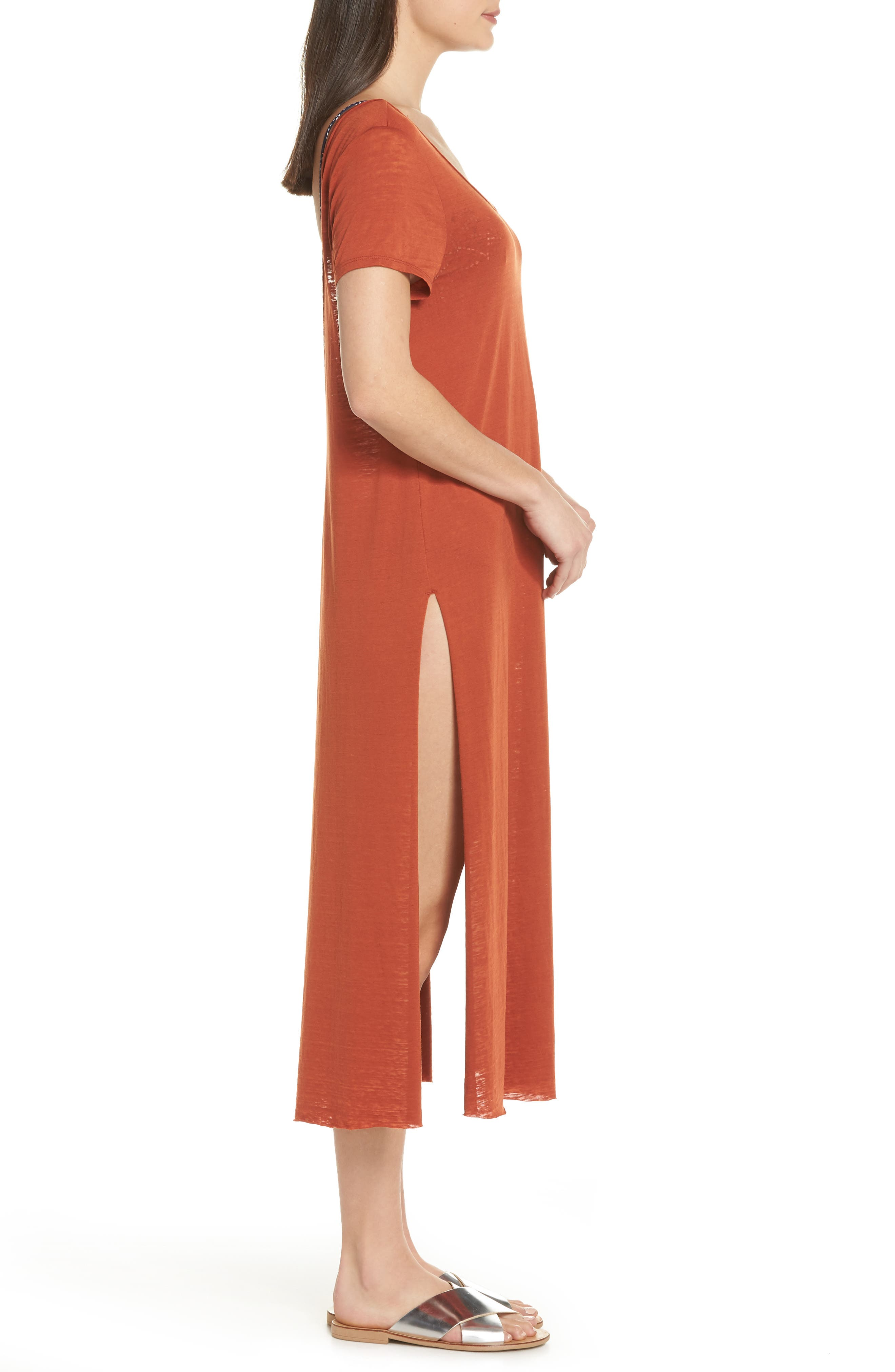 Easy Tee Burnout Cover-Up Dress,                             Alternate thumbnail 3, color,                             RUST PICANTE