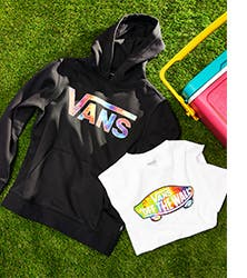 A Vans sweatshirt and T-shirt for boys.