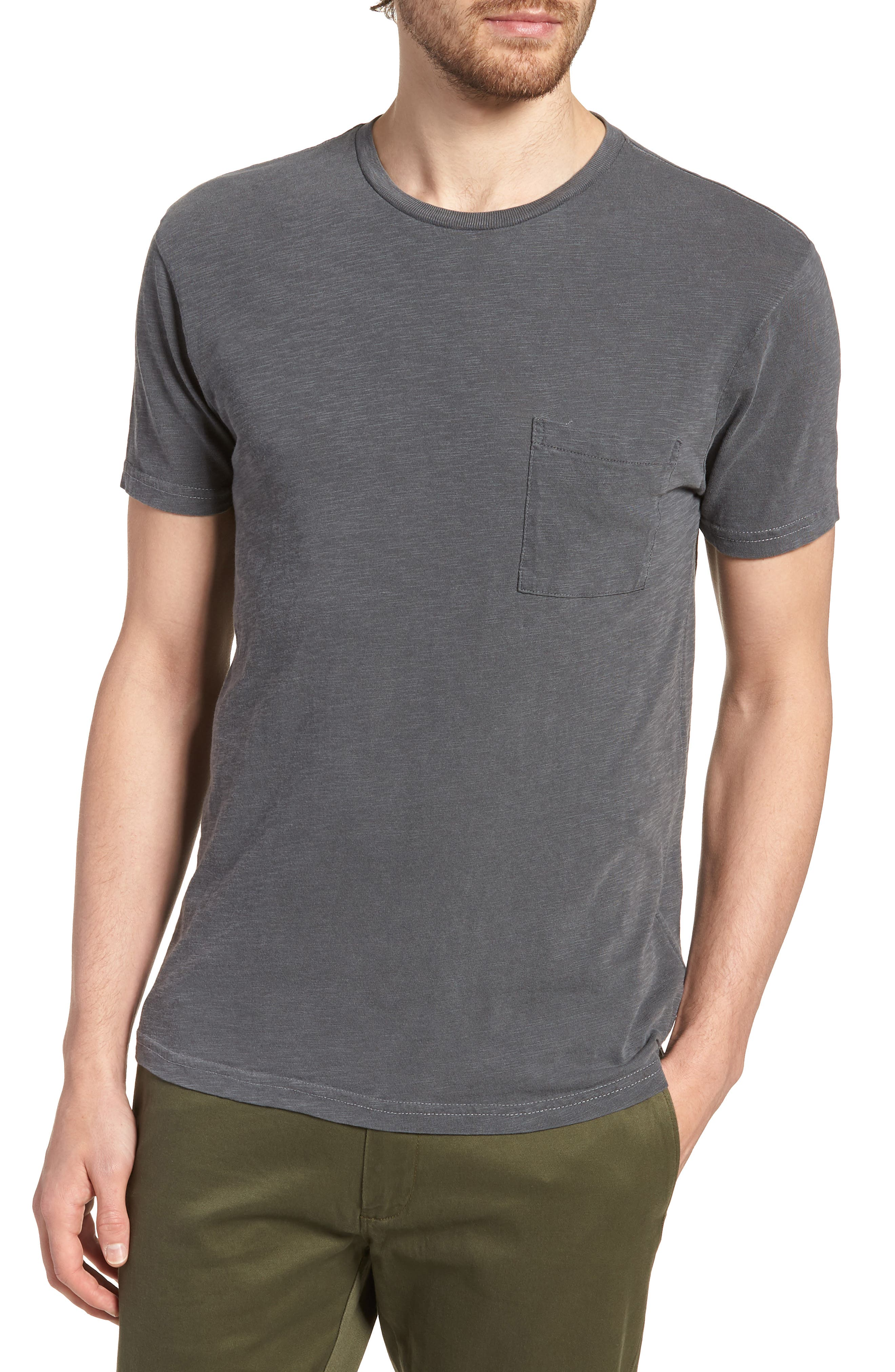 Slim Fit Garment Dyed T-Shirt,                         Main,                         color, 001
