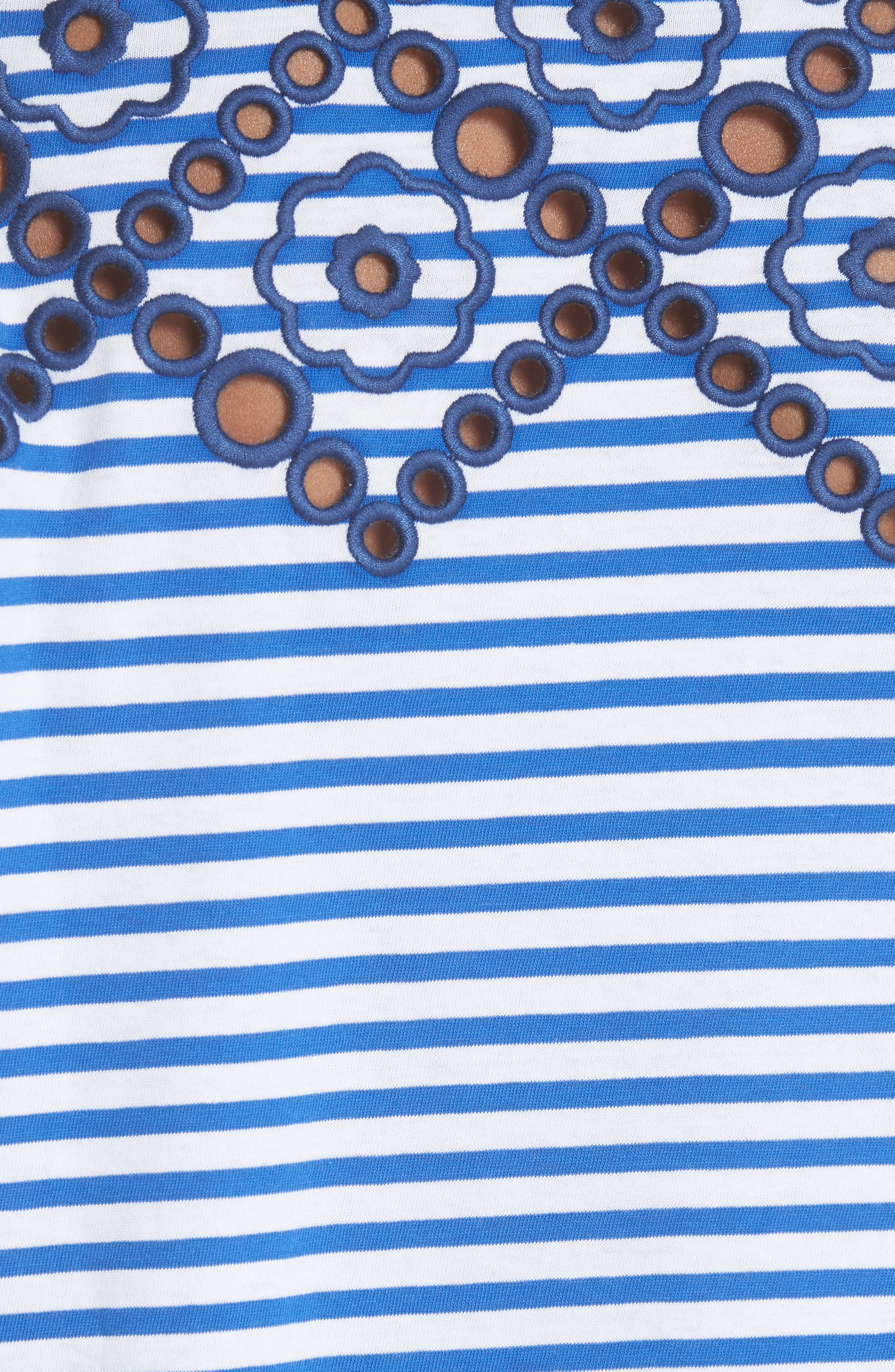 Stripe Embroidered Stencil Cotton Top,                             Alternate thumbnail 5, color,                             400