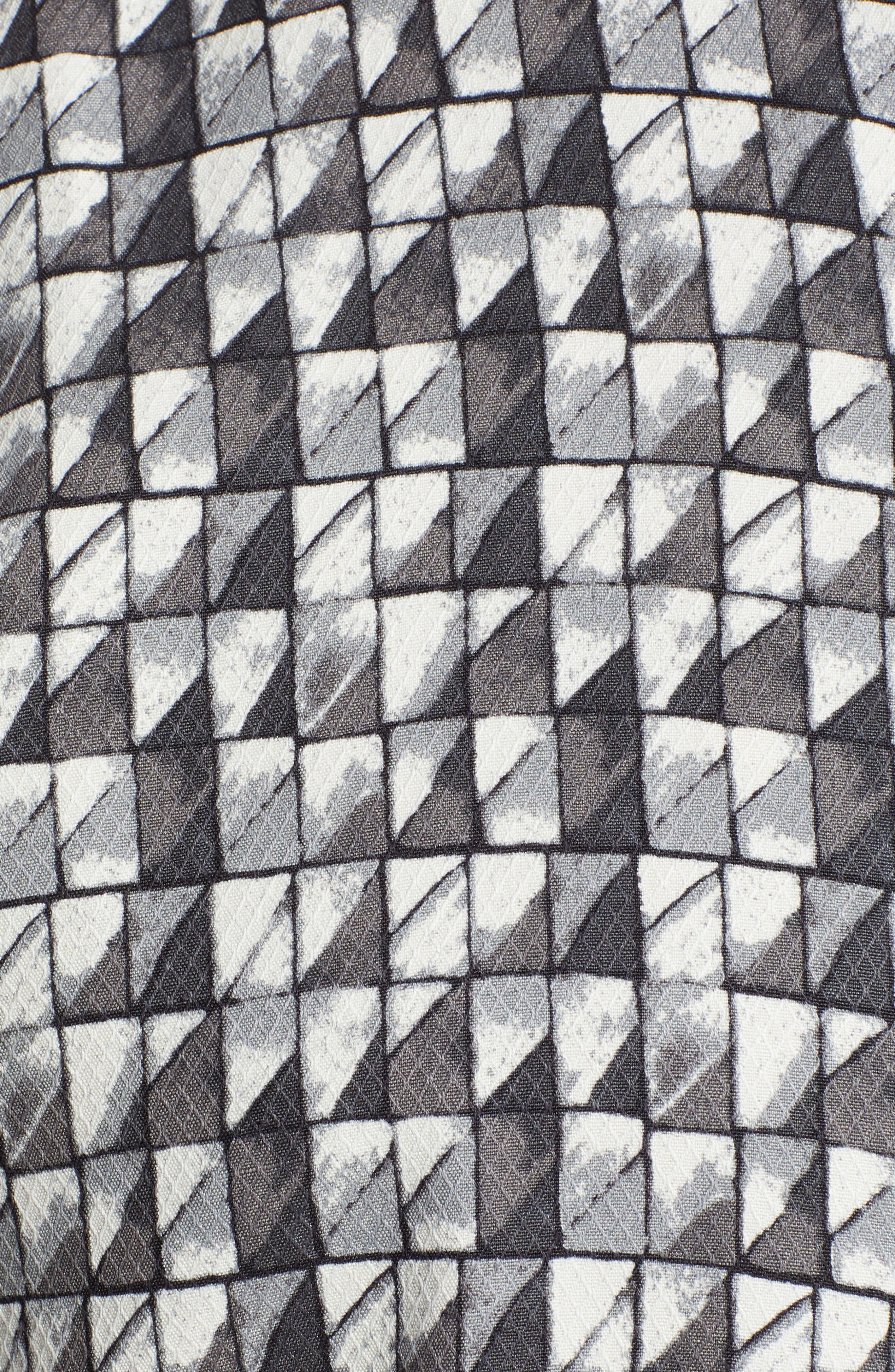 Poquito Geo Print Silk Sport Shirt,                             Alternate thumbnail 5, color,                             BLACK