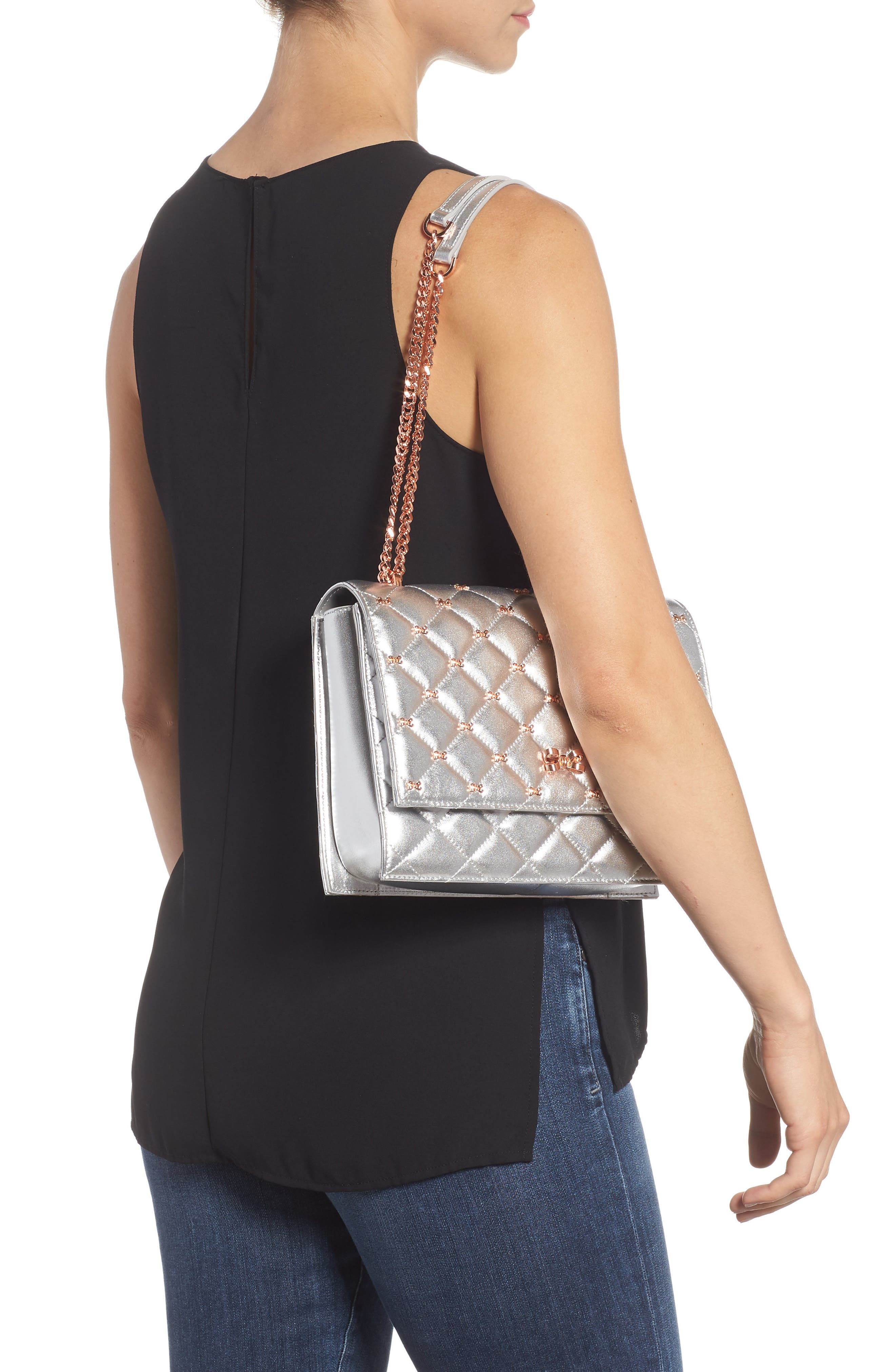 Bow Quilted Leather Shoulder Bag,                             Alternate thumbnail 2, color,                             SILVER